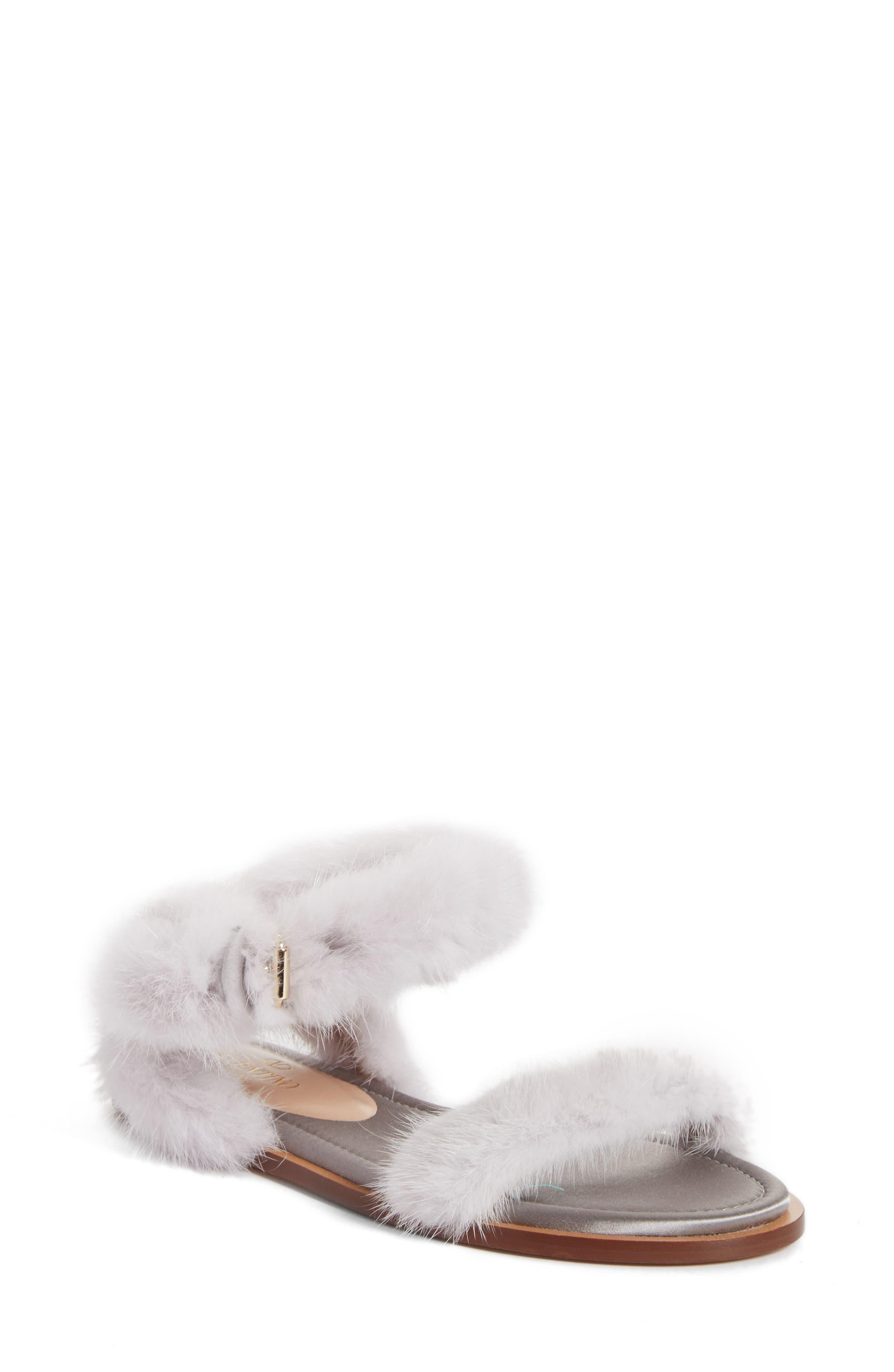 Genuine Mink Fur Sandal,                         Main,                         color, Light Grey