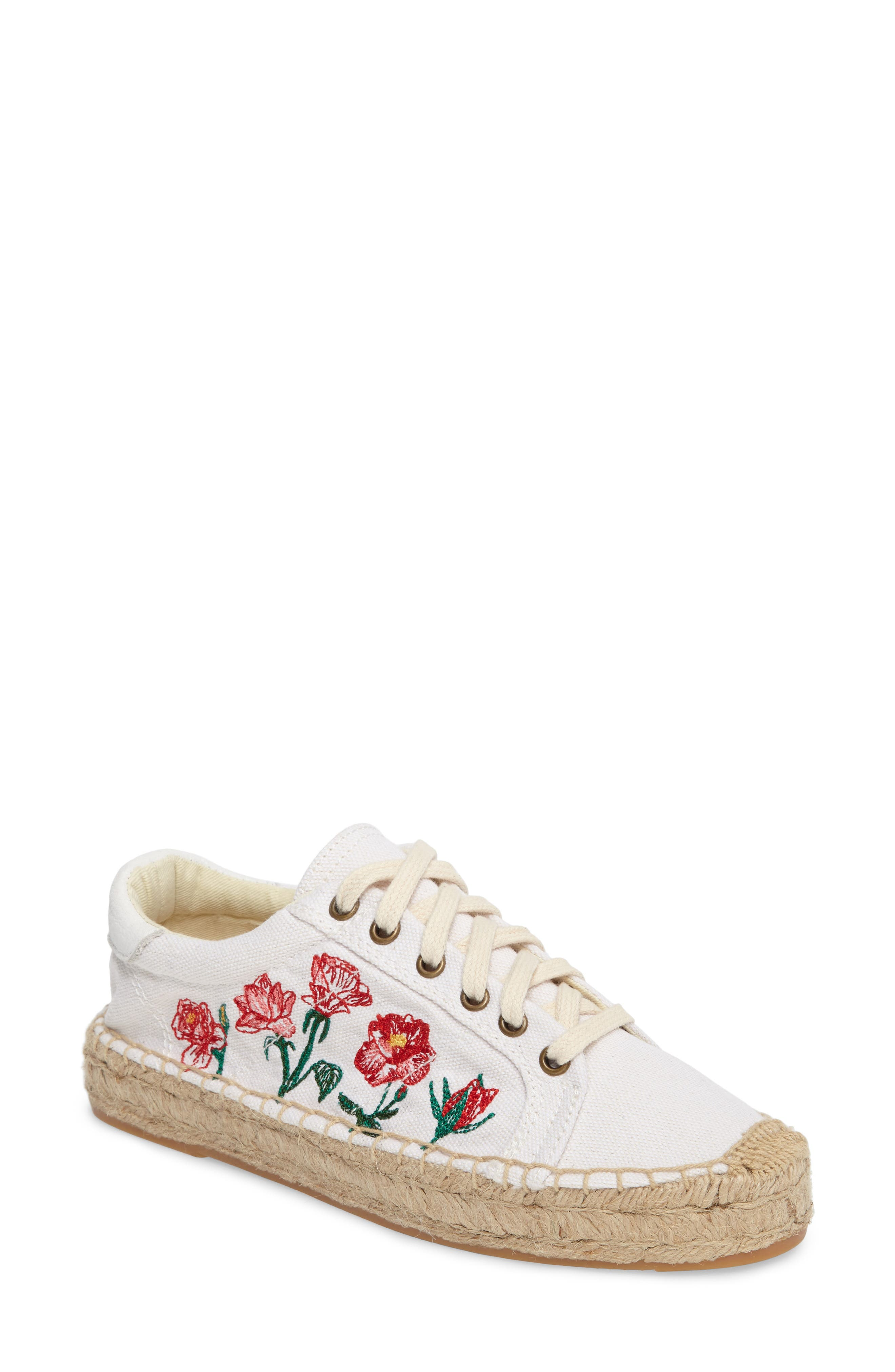 Floral Embroidered Espadrille Sneaker,                             Main thumbnail 1, color,                             White Canvas