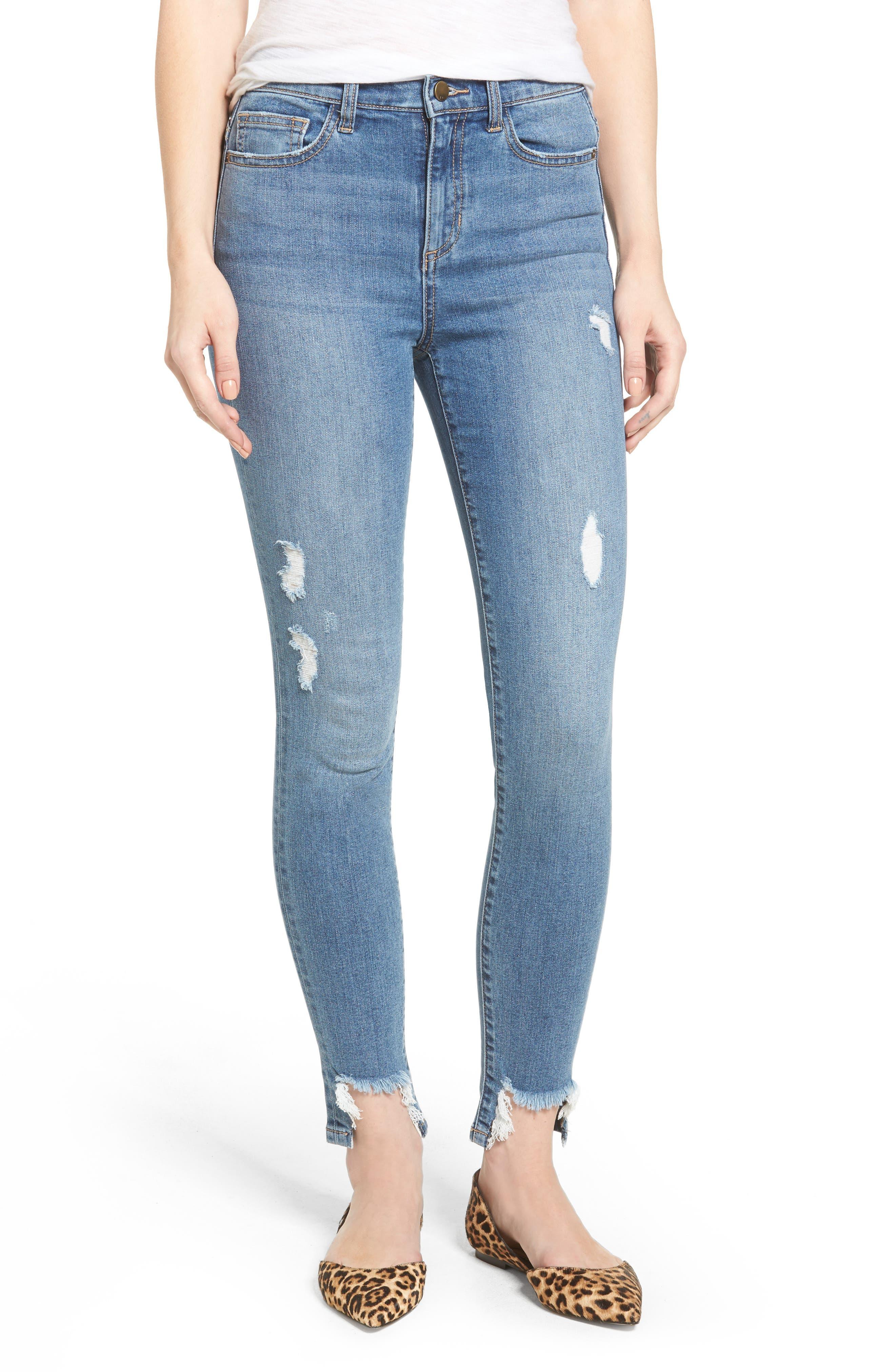 High Waist Raw Step Hem Jeans,                         Main,                         color, Med Wash