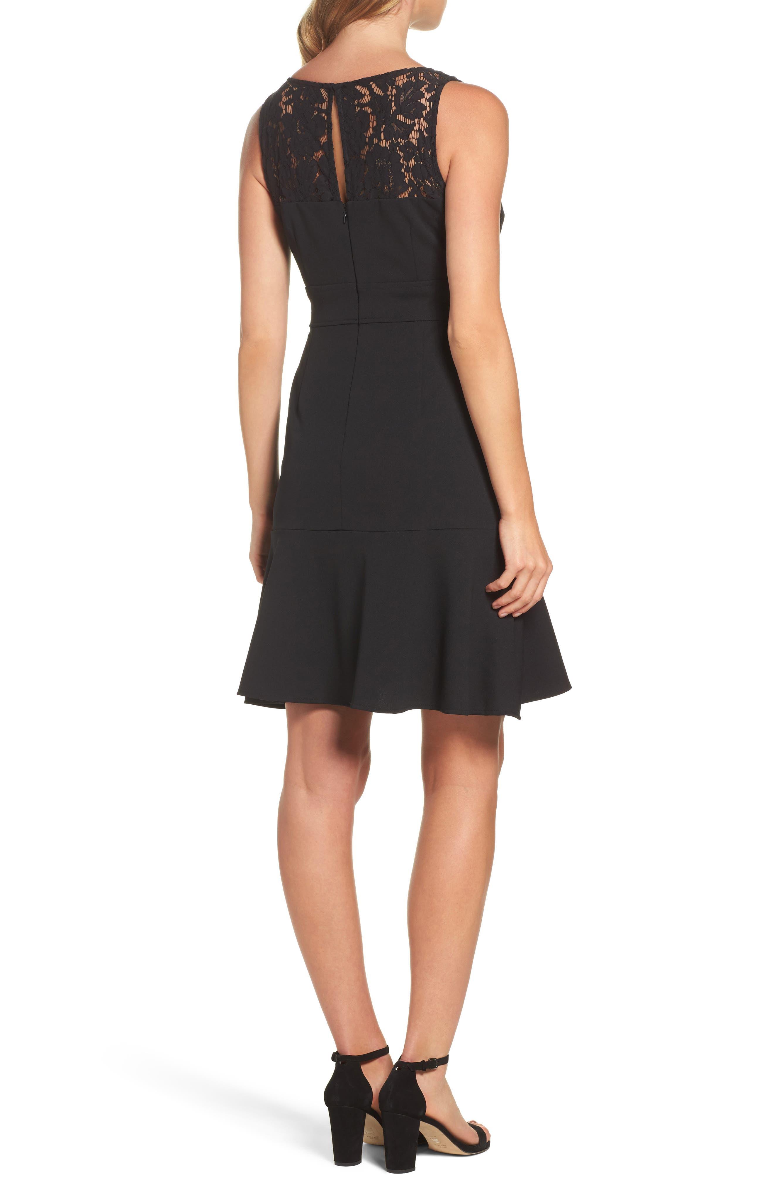 Lace Flounce Dress,                             Alternate thumbnail 2, color,                             Black