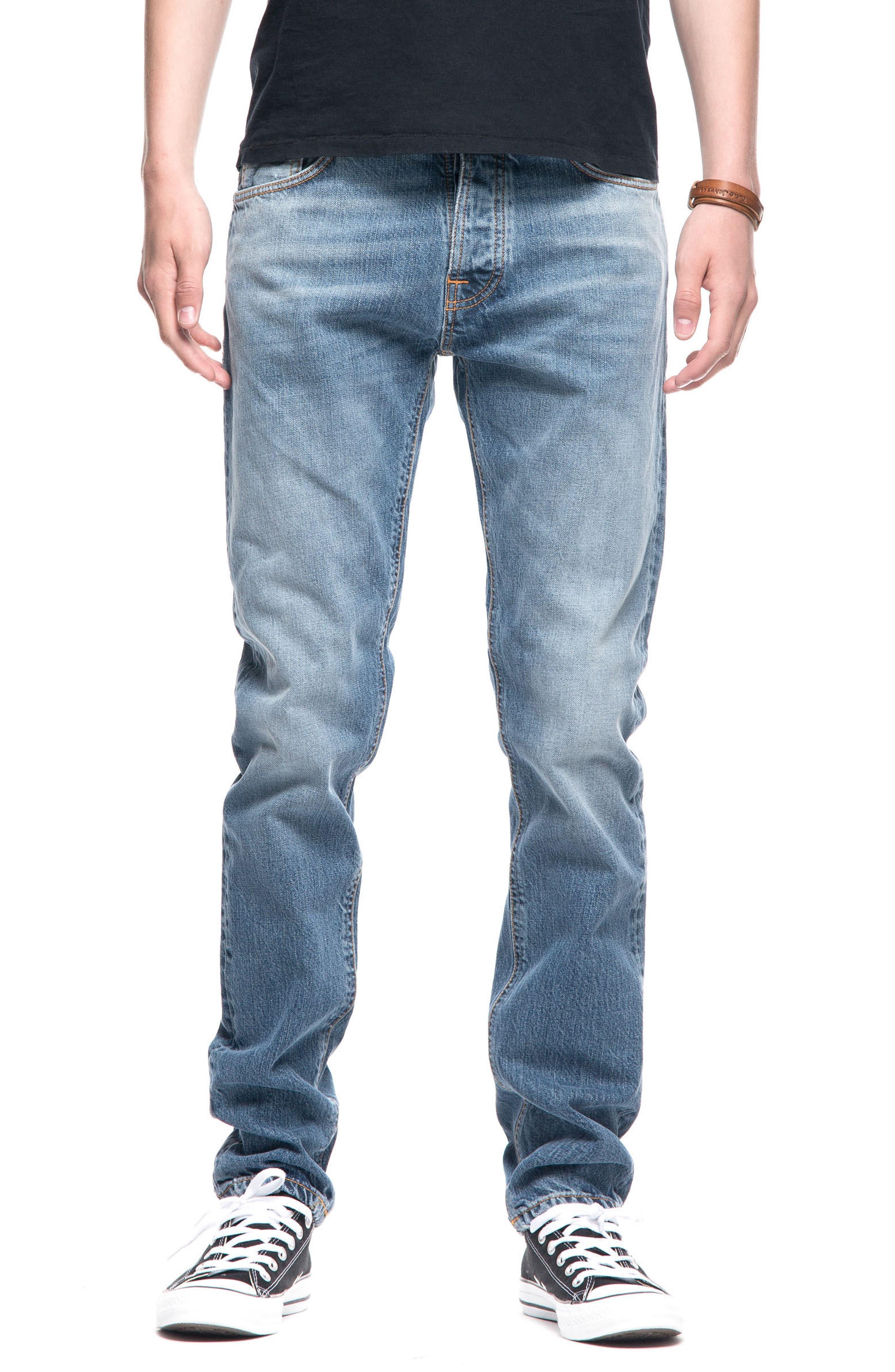 Nudie Jeans Fearless Freddie Slim Straight Leg Jeans (Shiny Indigo)