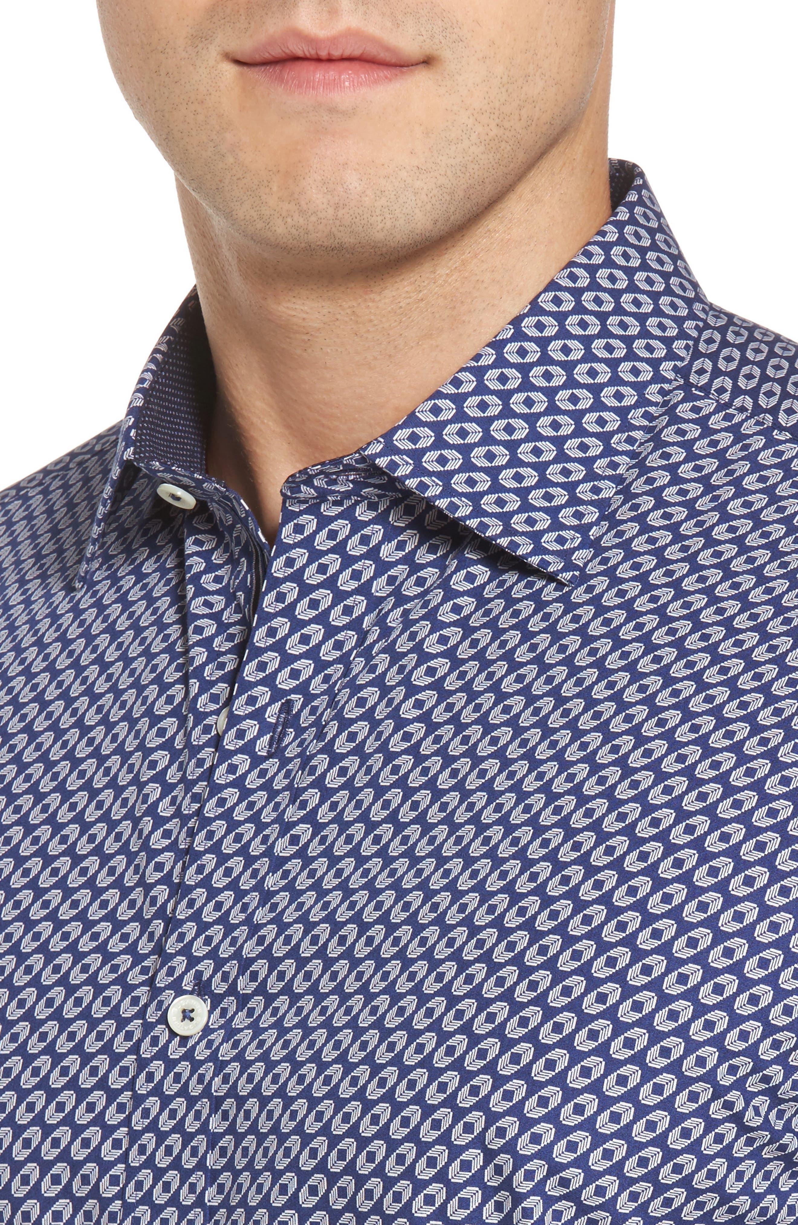 Shaped Fit Geo Print Sport Shirt,                             Alternate thumbnail 4, color,                             Navy