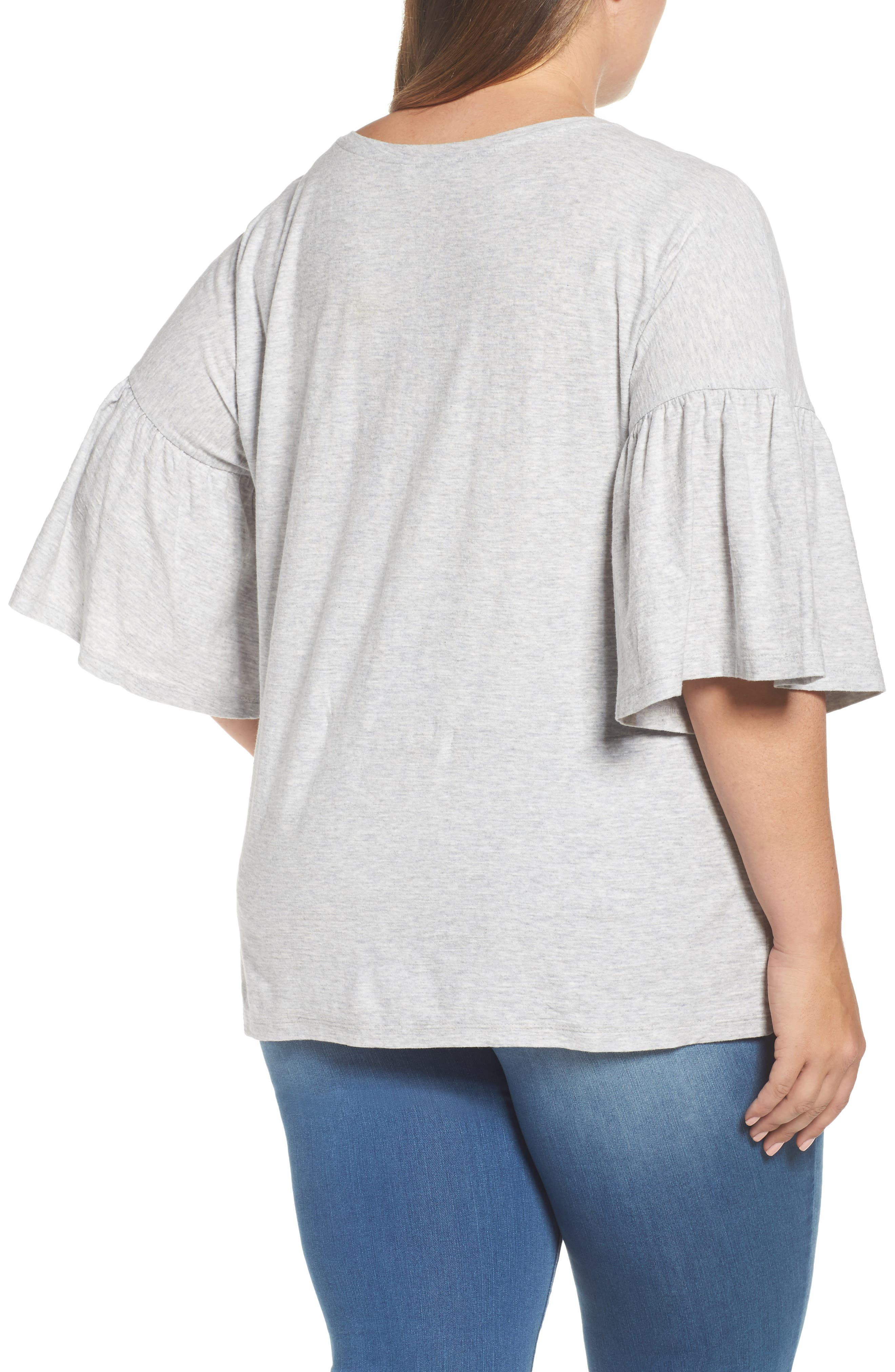 Alternate Image 2  - Vince Camuto Relaxed Bell Sleeve Cotton Tee (Plus Size)