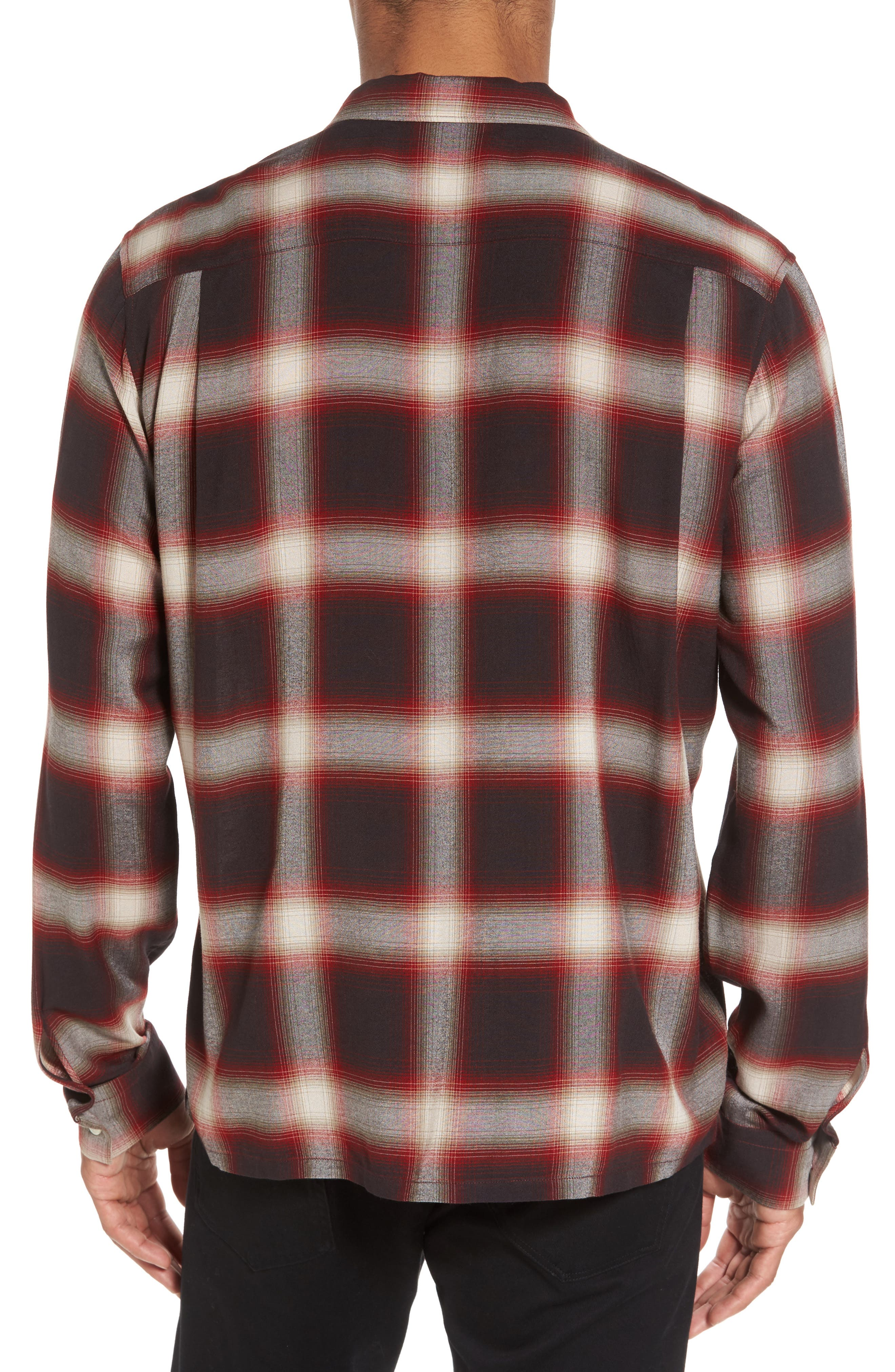 Ombré Check Sport Shirt,                             Alternate thumbnail 2, color,                             Red