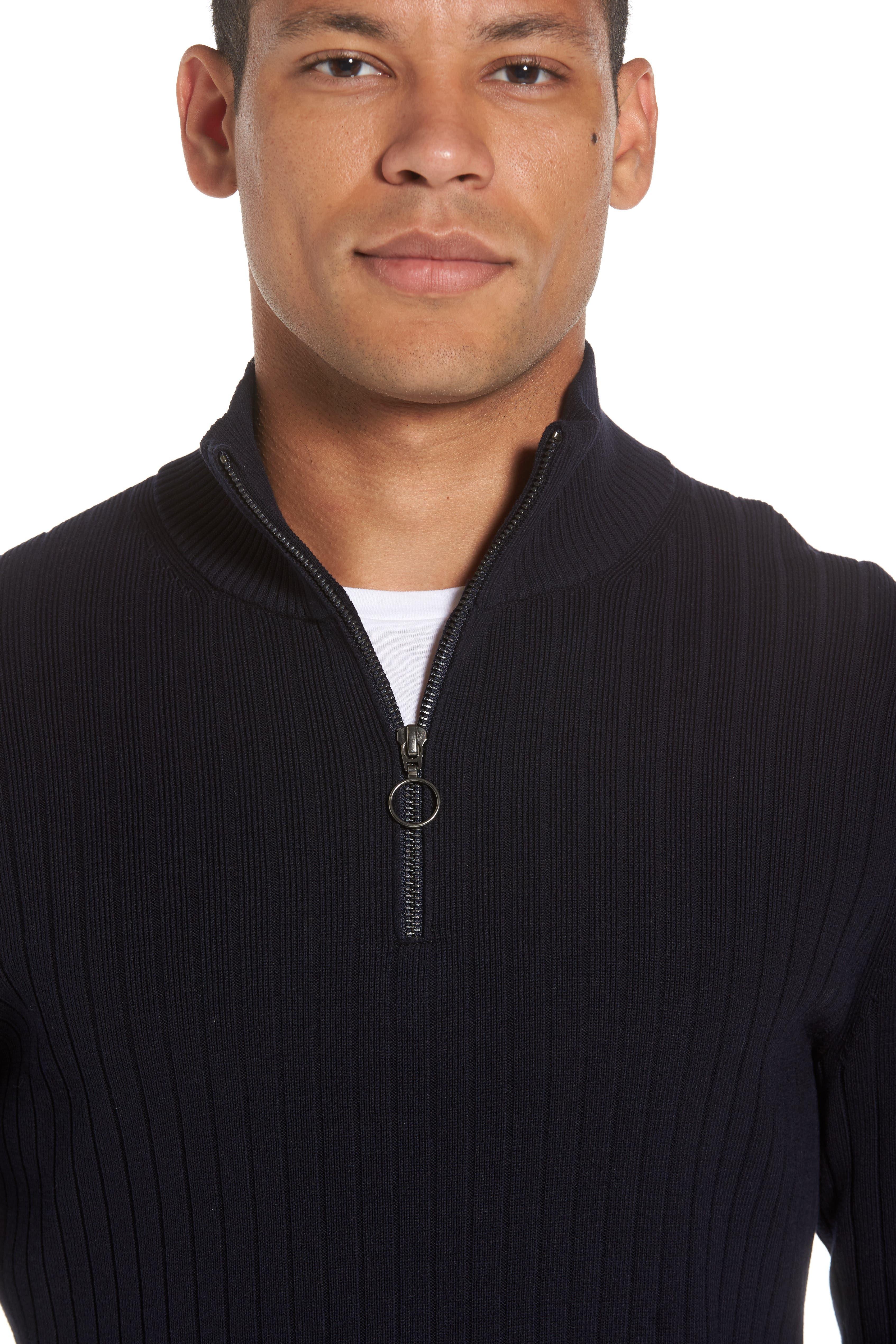 Half Zip Mock Neck Sweater,                             Alternate thumbnail 4, color,                             Coastal