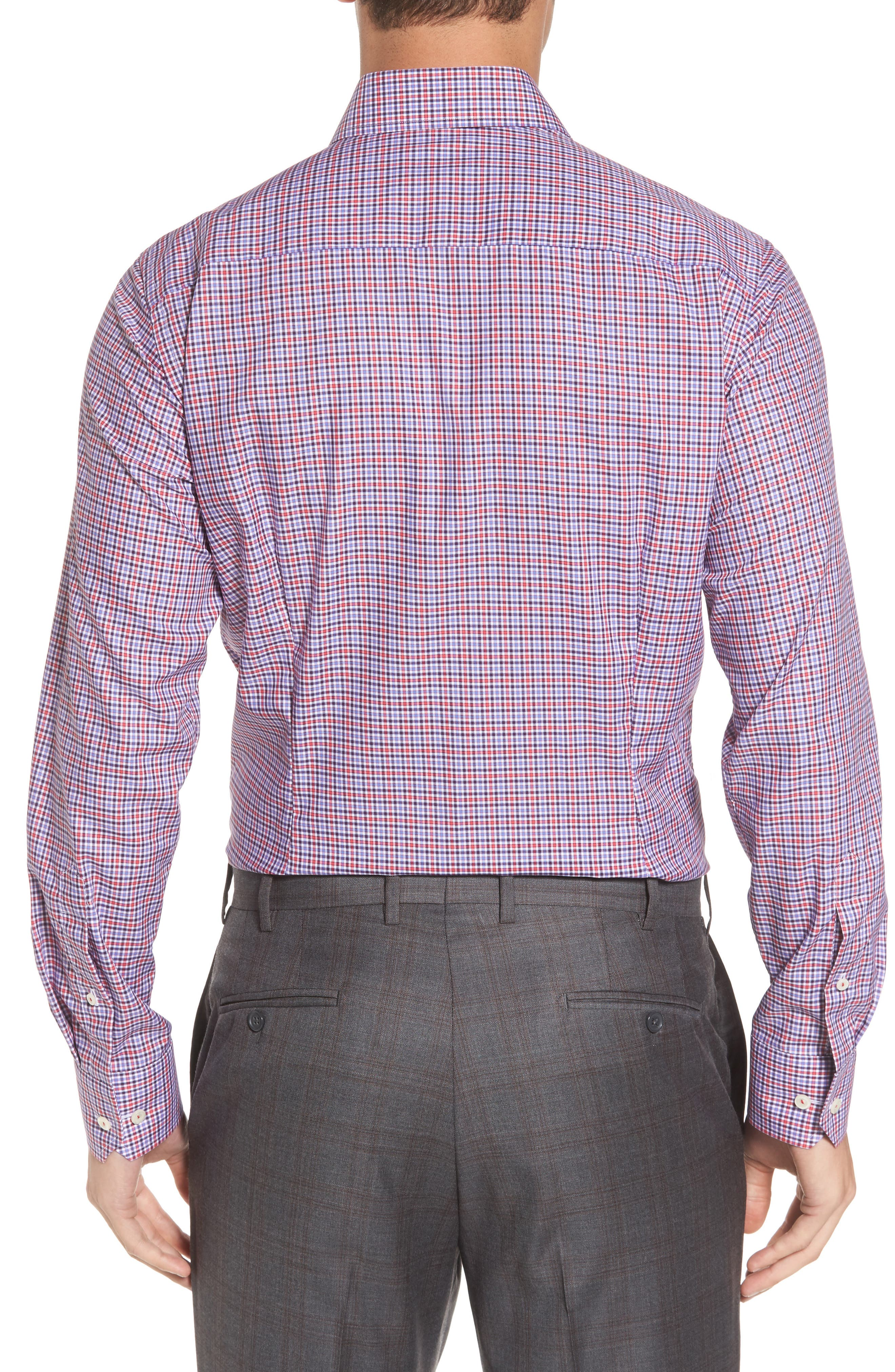 Contemporary Fit Check Dress Shirt,                             Alternate thumbnail 3, color,                             Pink/ Red