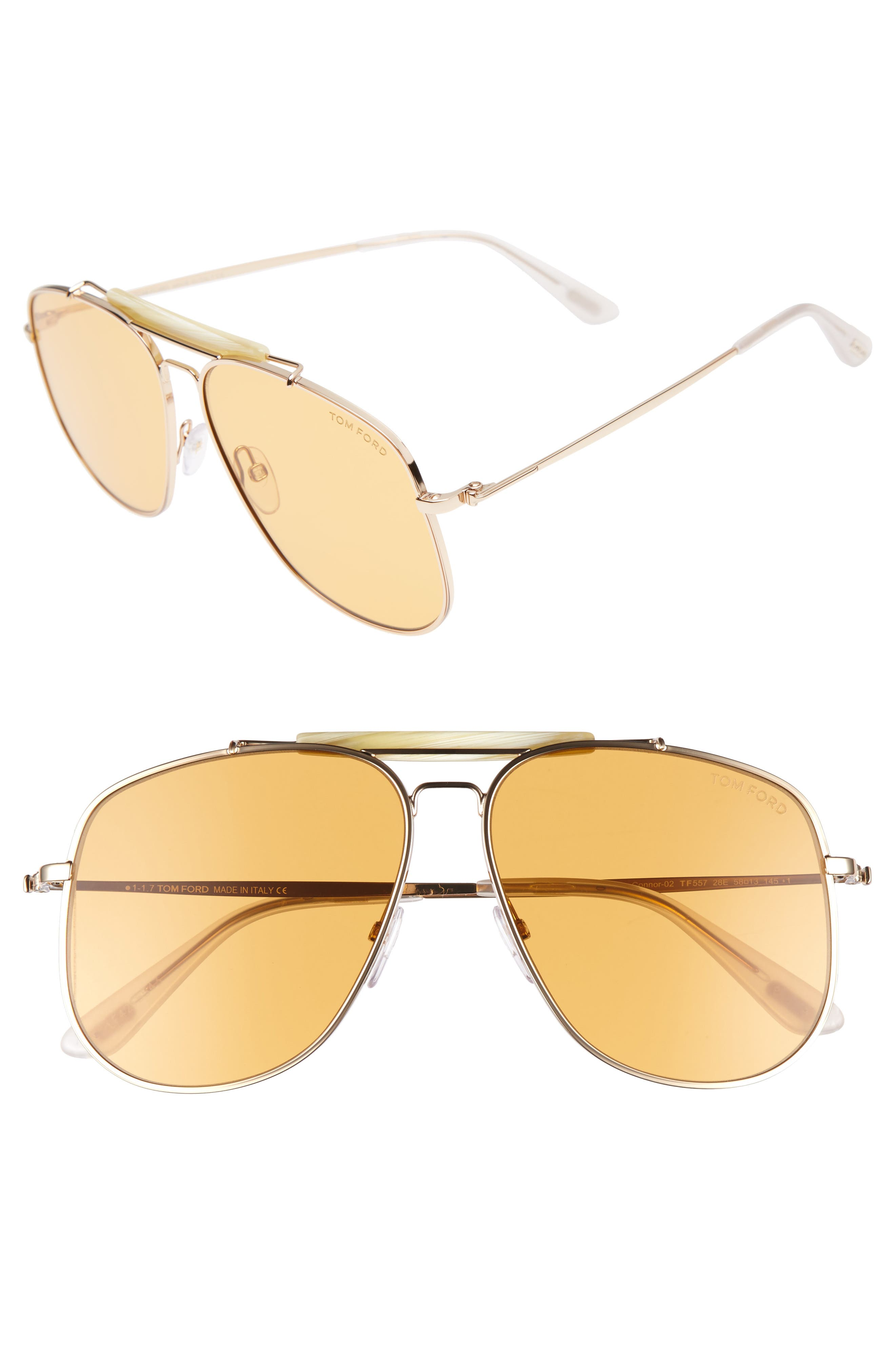 TOM FORD Connor 58mm Aviator Sunglasses