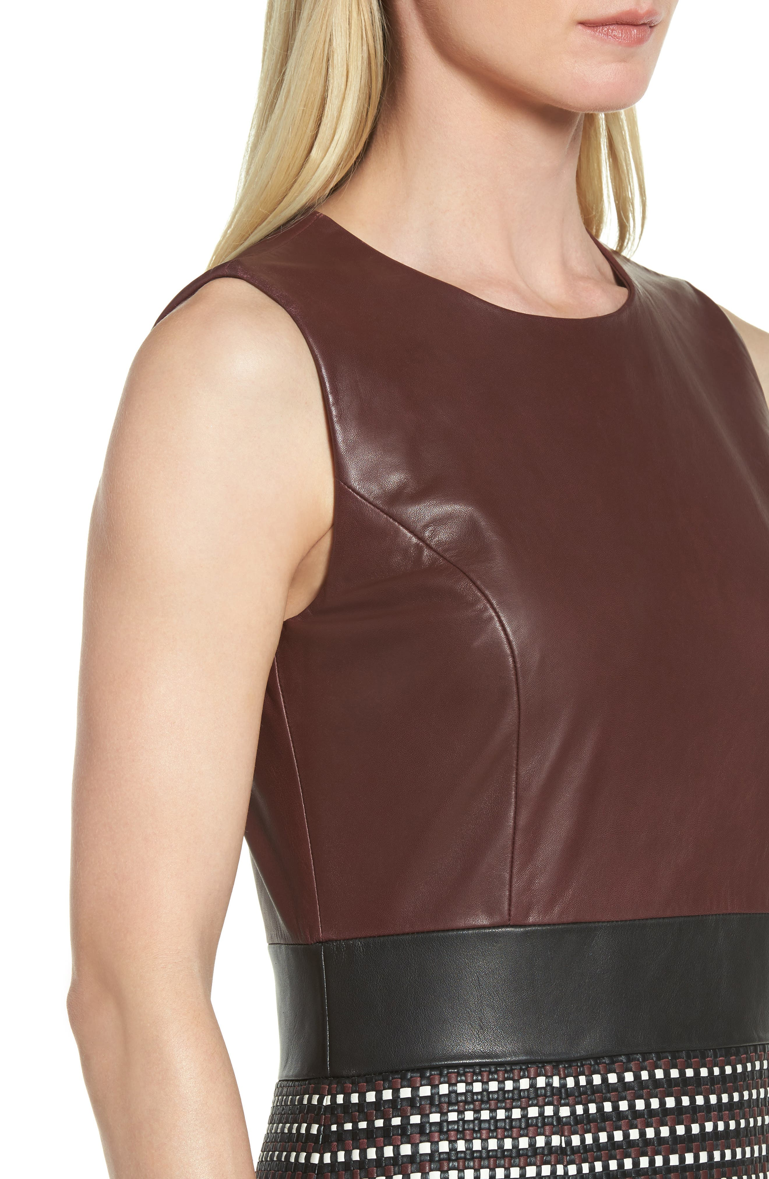 Syrina Leather Sheath Dress,                             Alternate thumbnail 4, color,                             Black/ Pomegranate