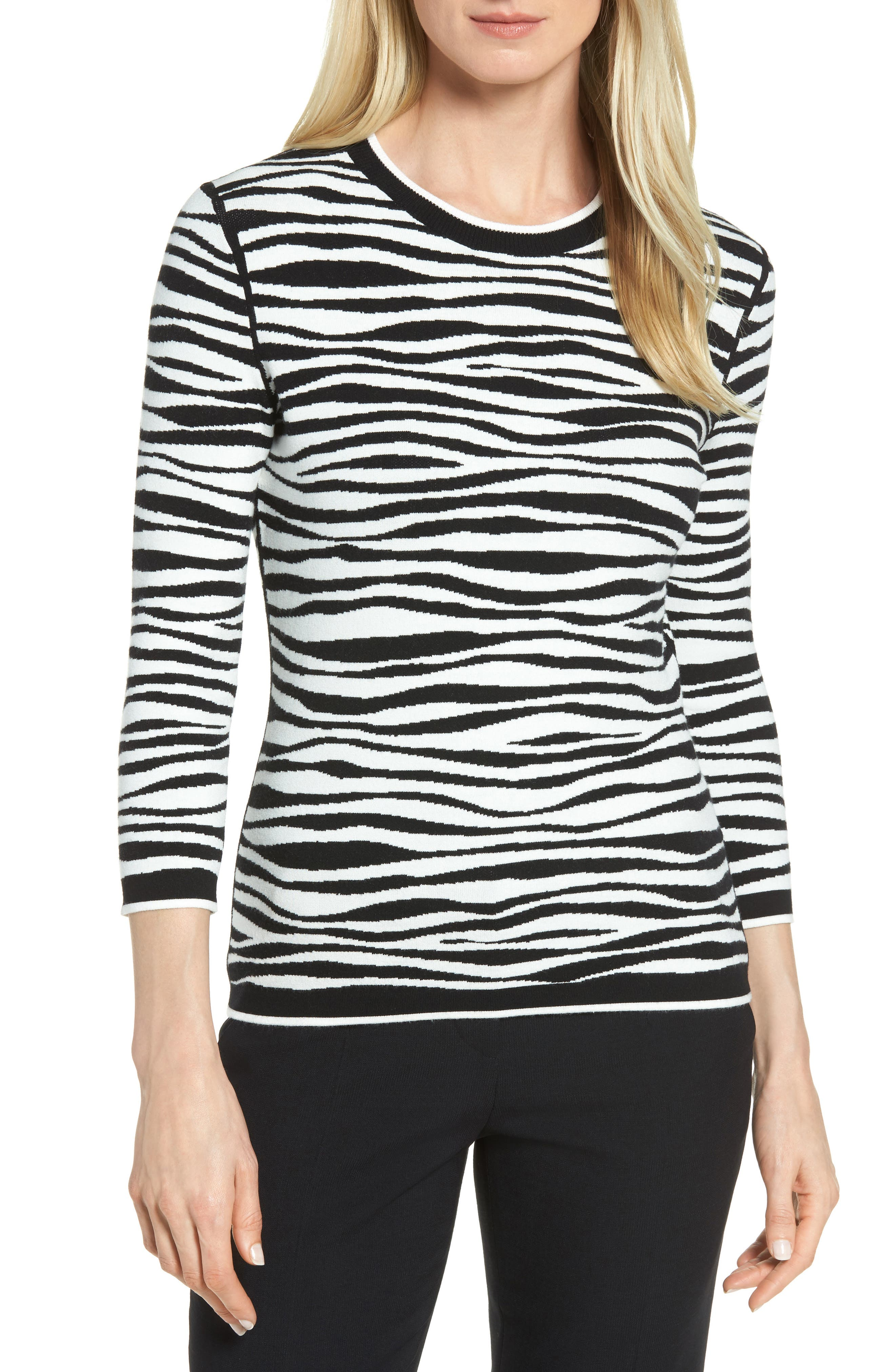 Alternate Image 1 Selected - BOSS Fatima Zebra Stripe Sweater