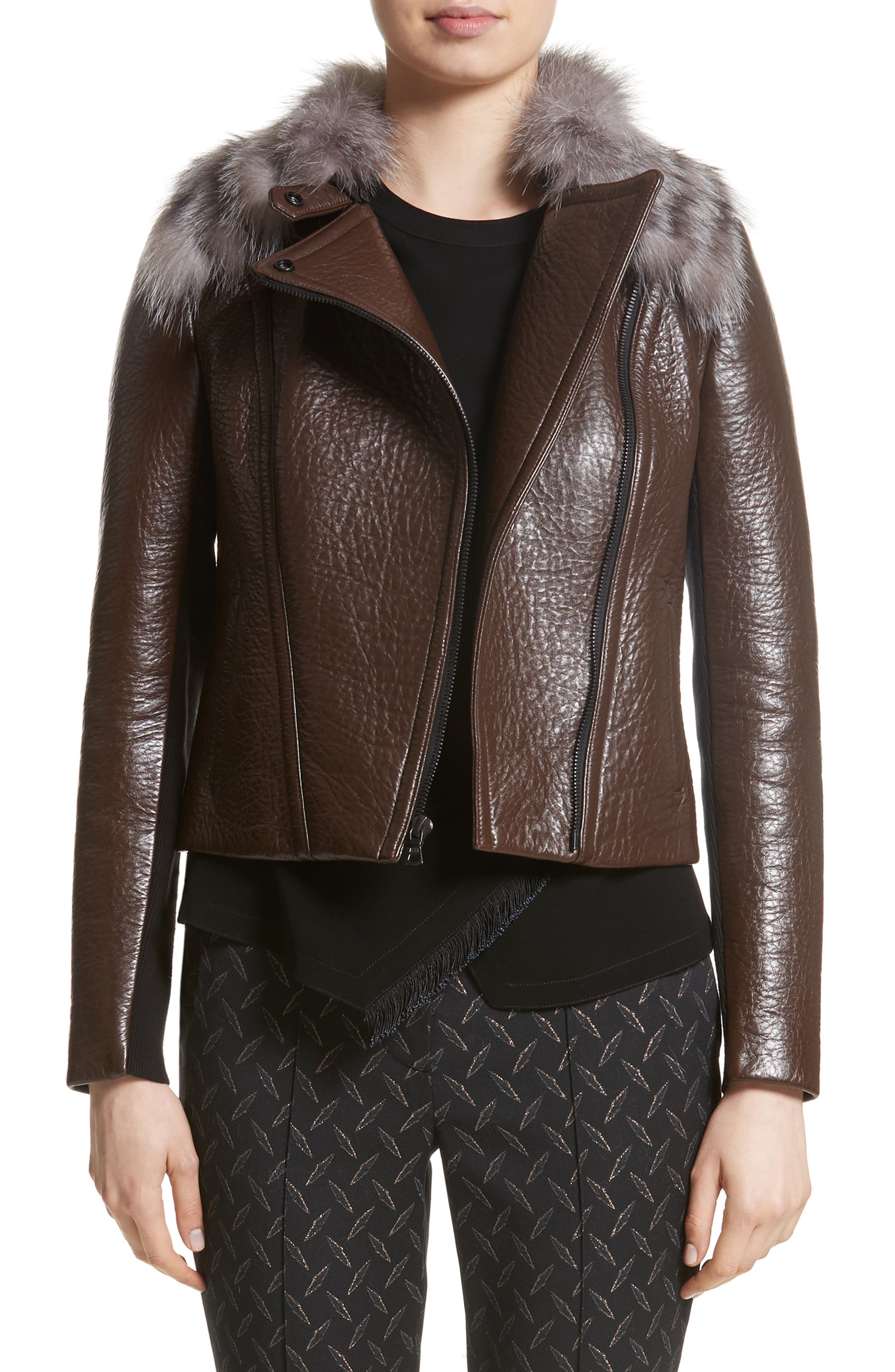 Bonded Moto Leather Jacket with Removable Genuine Fox Fur Collar,                         Main,                         color, Hazelnut Multi