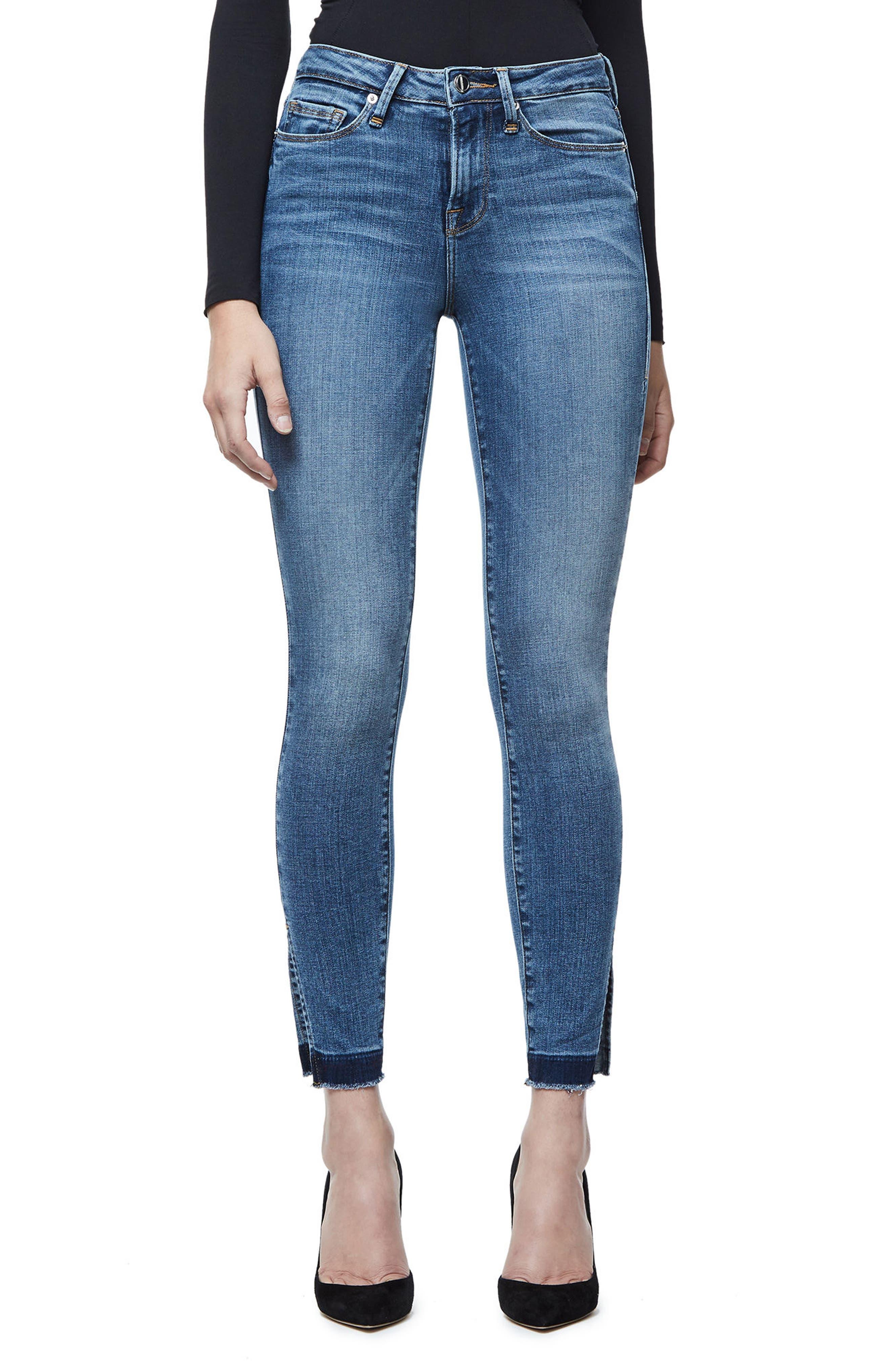 Main Image - Good American Good Legs High Rise Split Hem Crop Skinny Jeans (Blue 061)