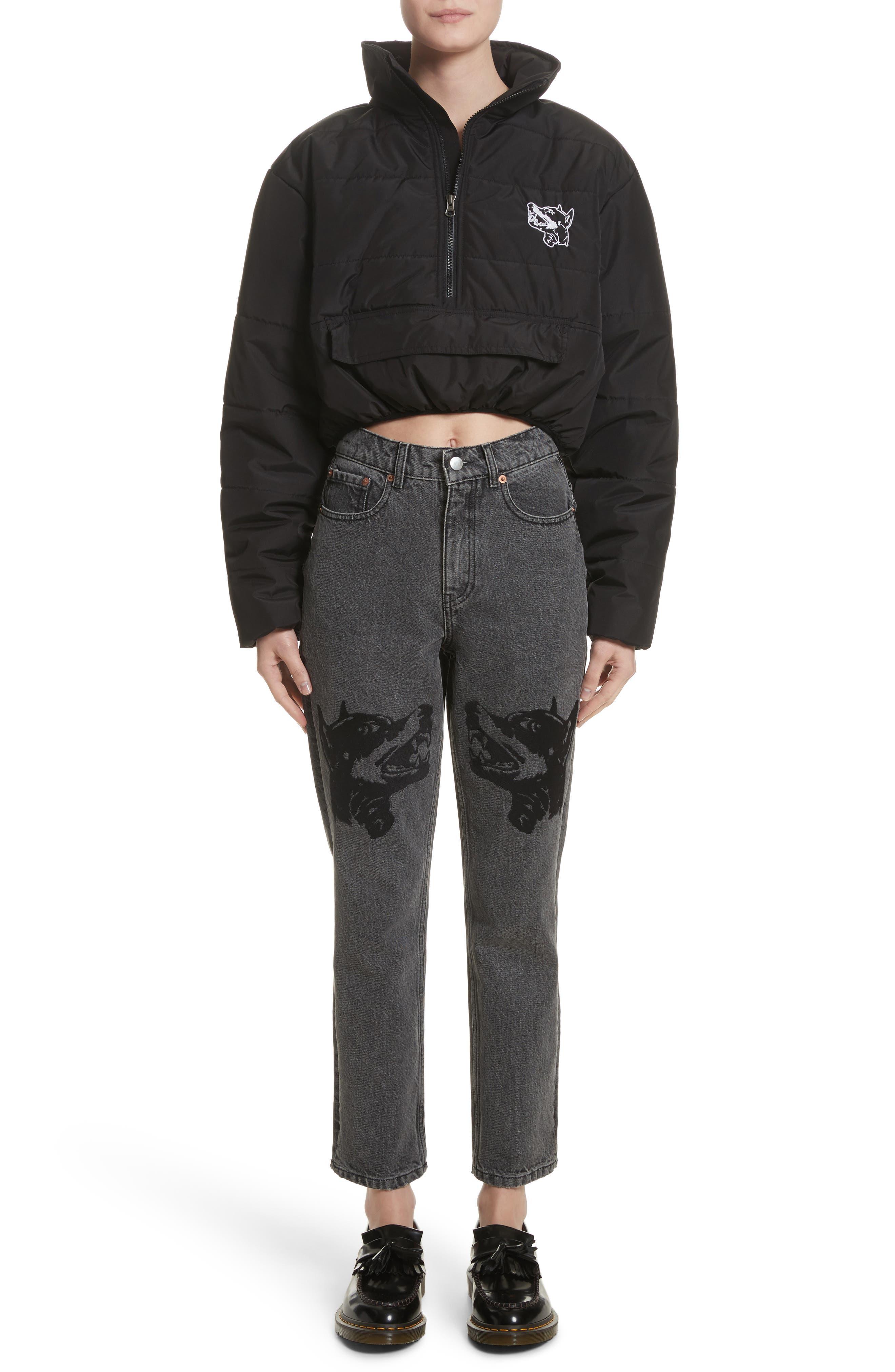 Alternate Image 9  - Ashley Williams Dog Embroidered Jeans (Grey)