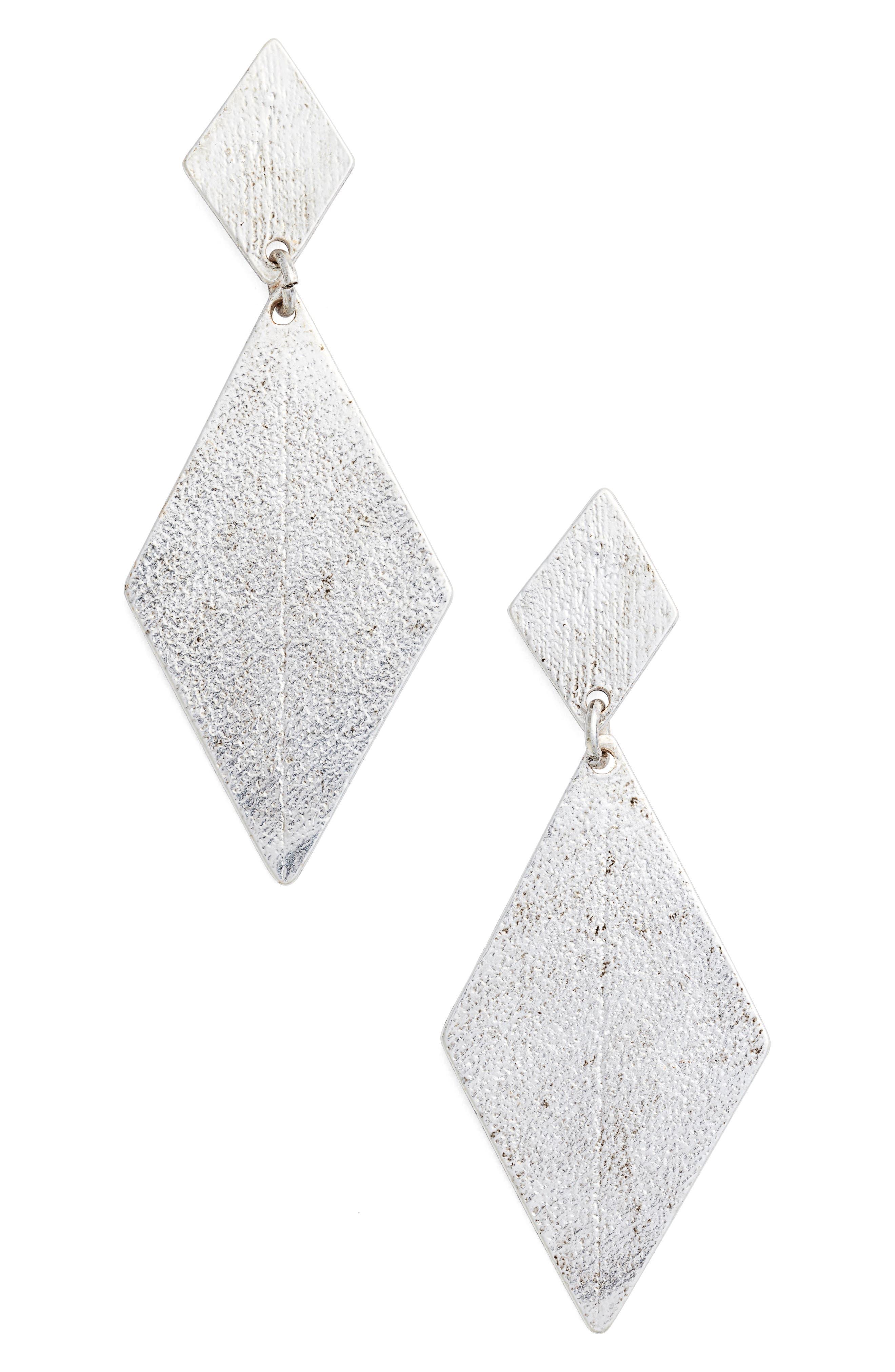 Kite Earrings,                         Main,                         color, Silver
