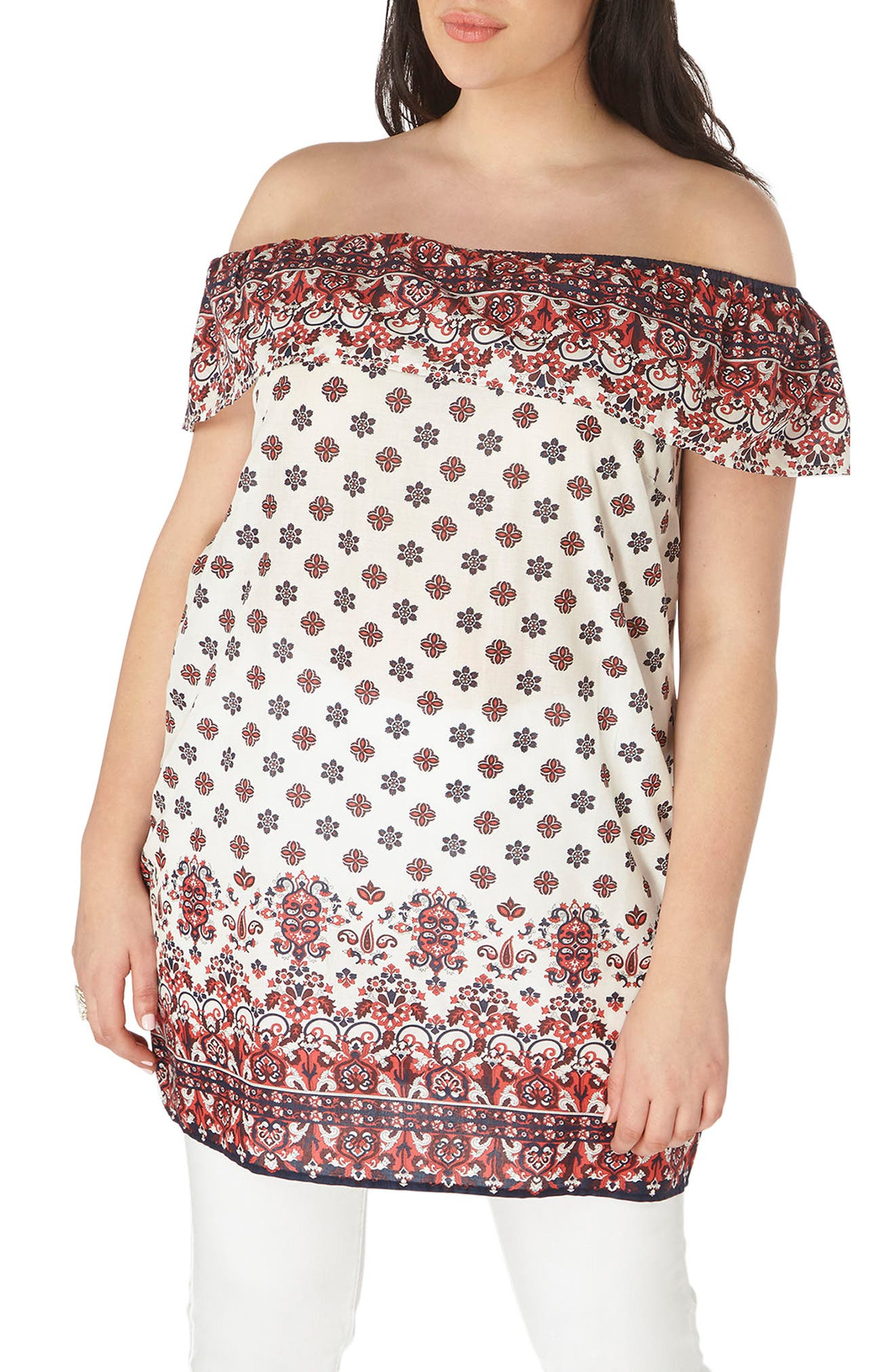 Evans Off the Shoulder Border Print Top (Plus Size)