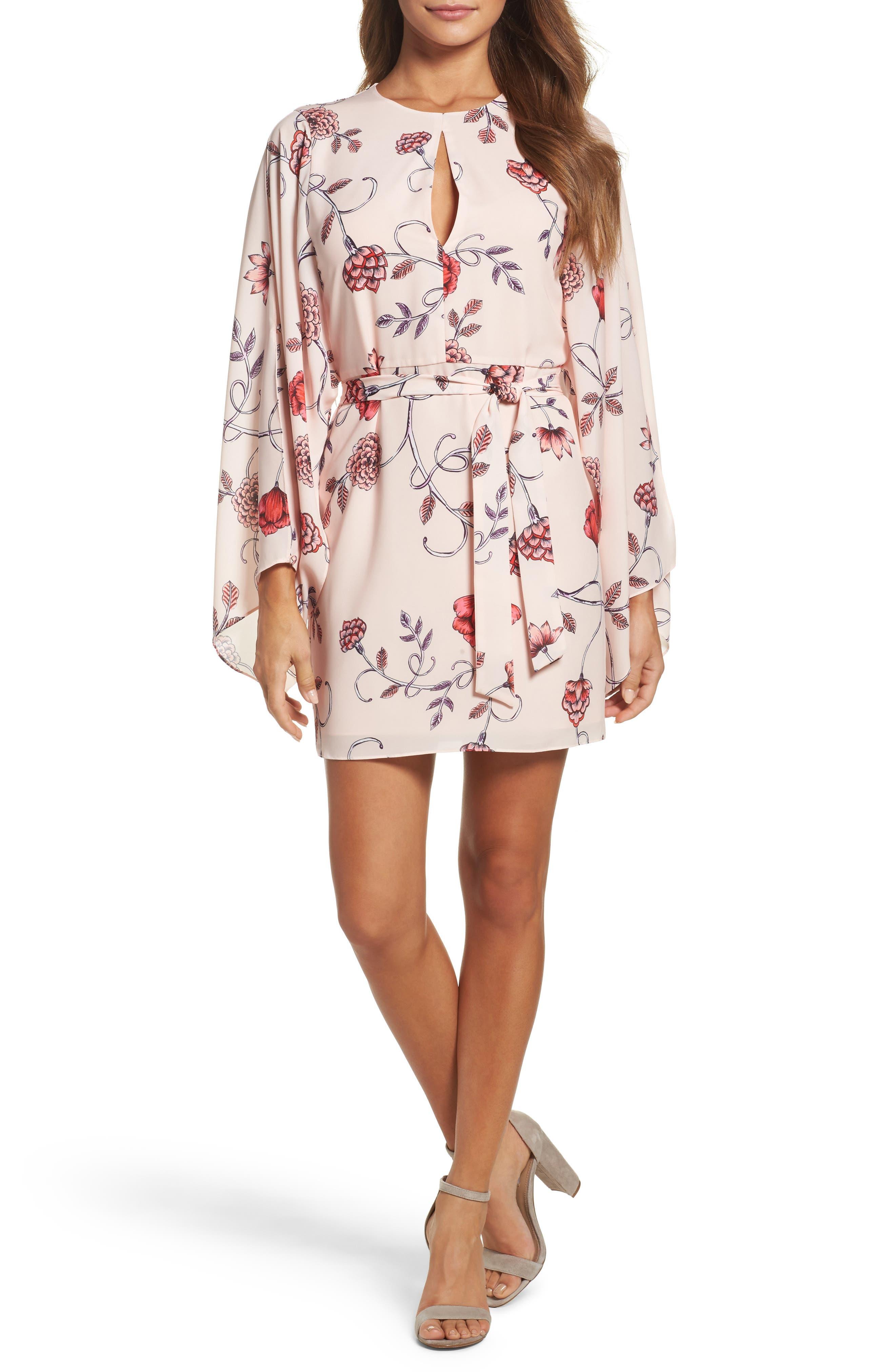 Sakura Bell Sleeve Dress,                         Main,                         color, Pink Print