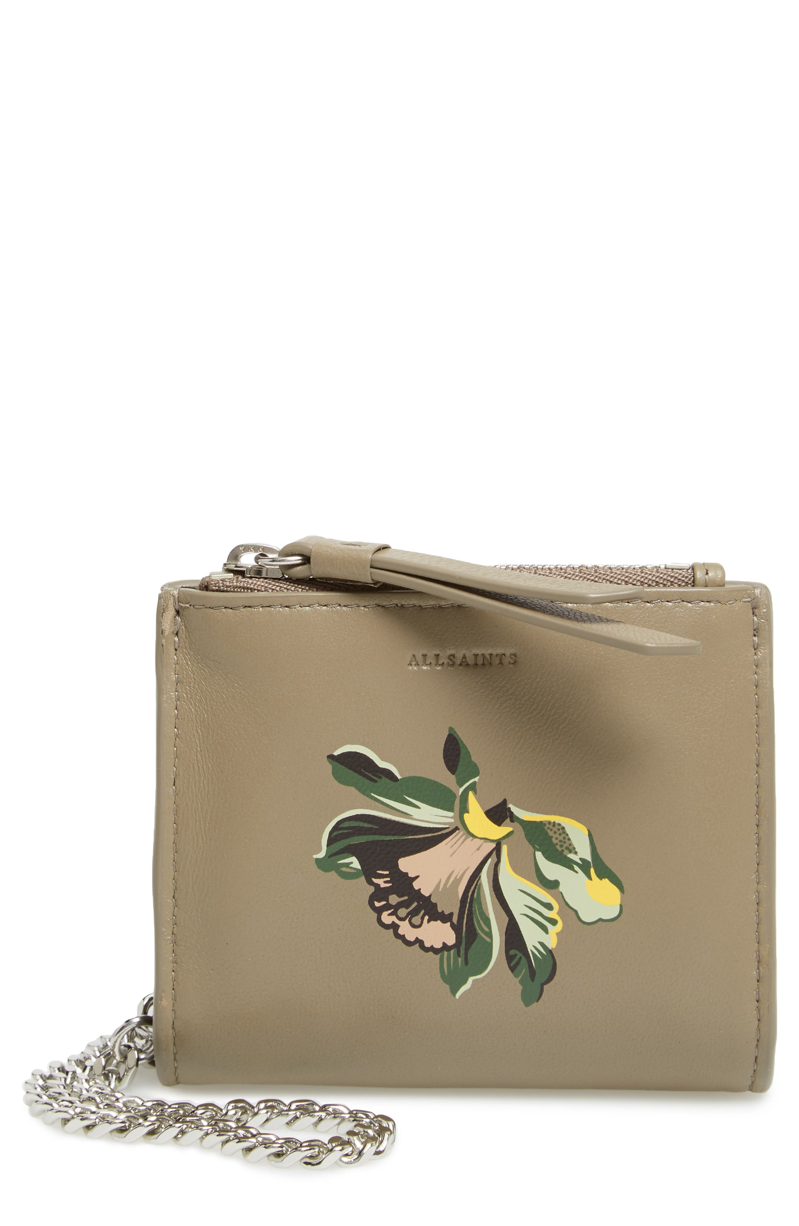 Flora Leather Wristlet,                         Main,                         color, Taupe Grey