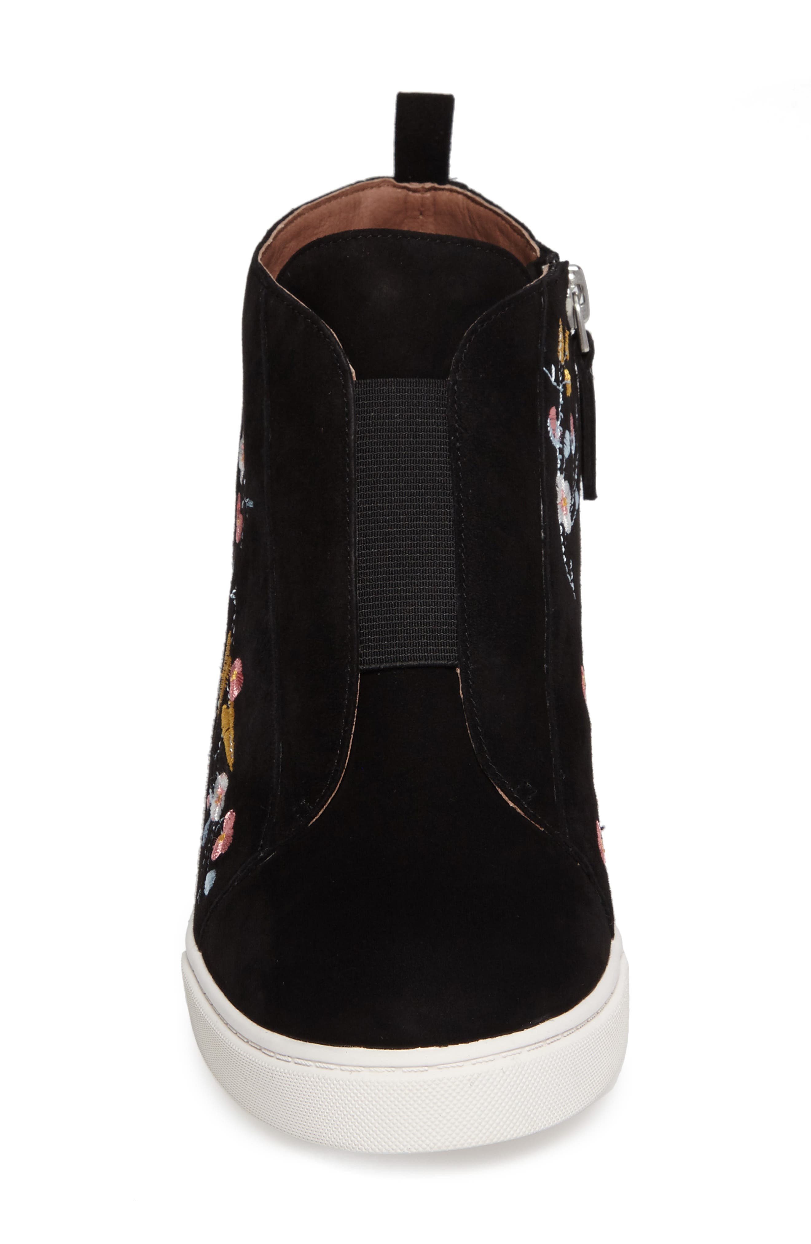 Felicia II Wedge Bootie,                             Alternate thumbnail 4, color,                             Black Embroidery Suede