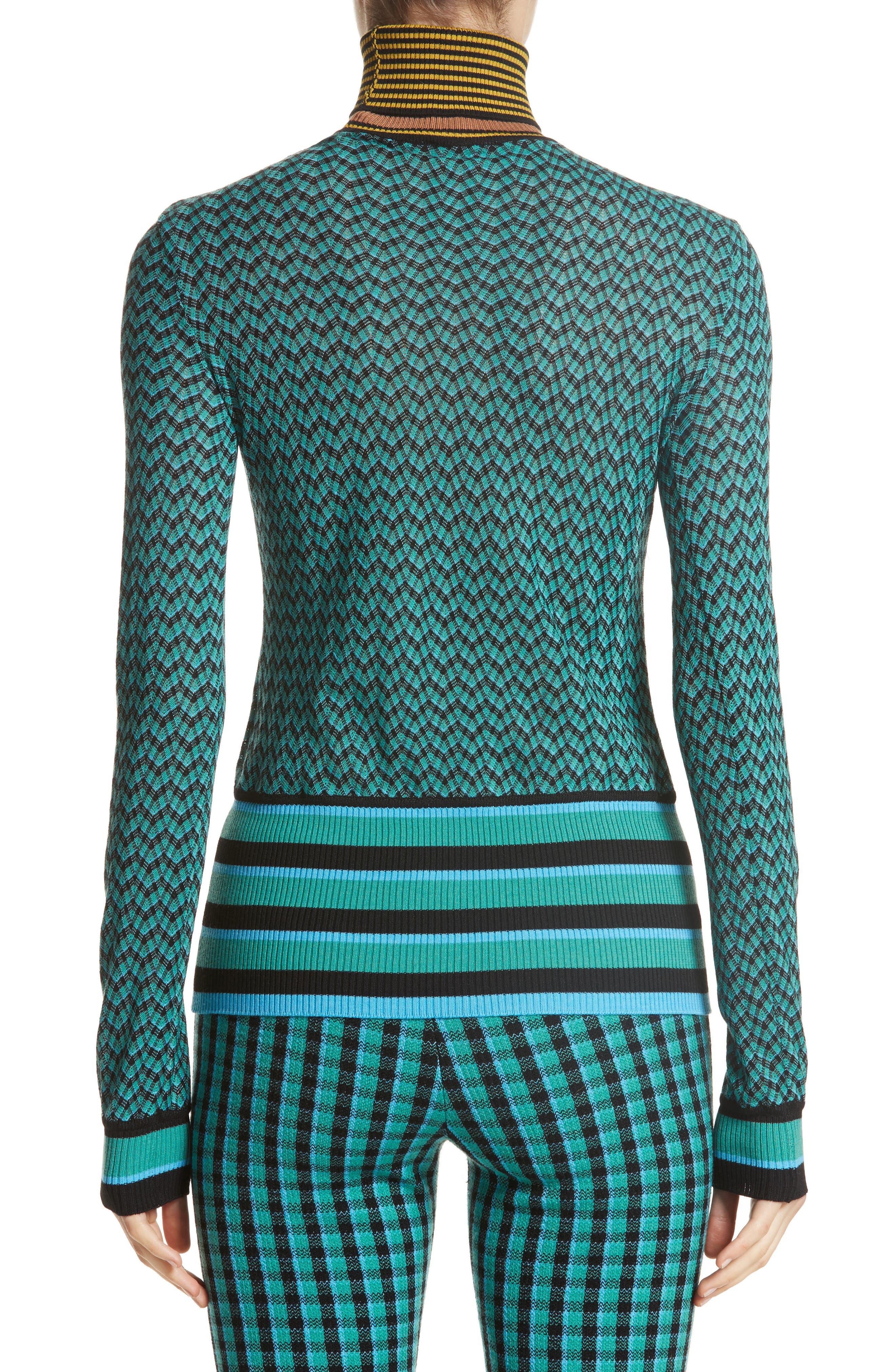 Zigzag & Stripe Mock Neck Sweater,                             Alternate thumbnail 2, color,                             Green/ Blue