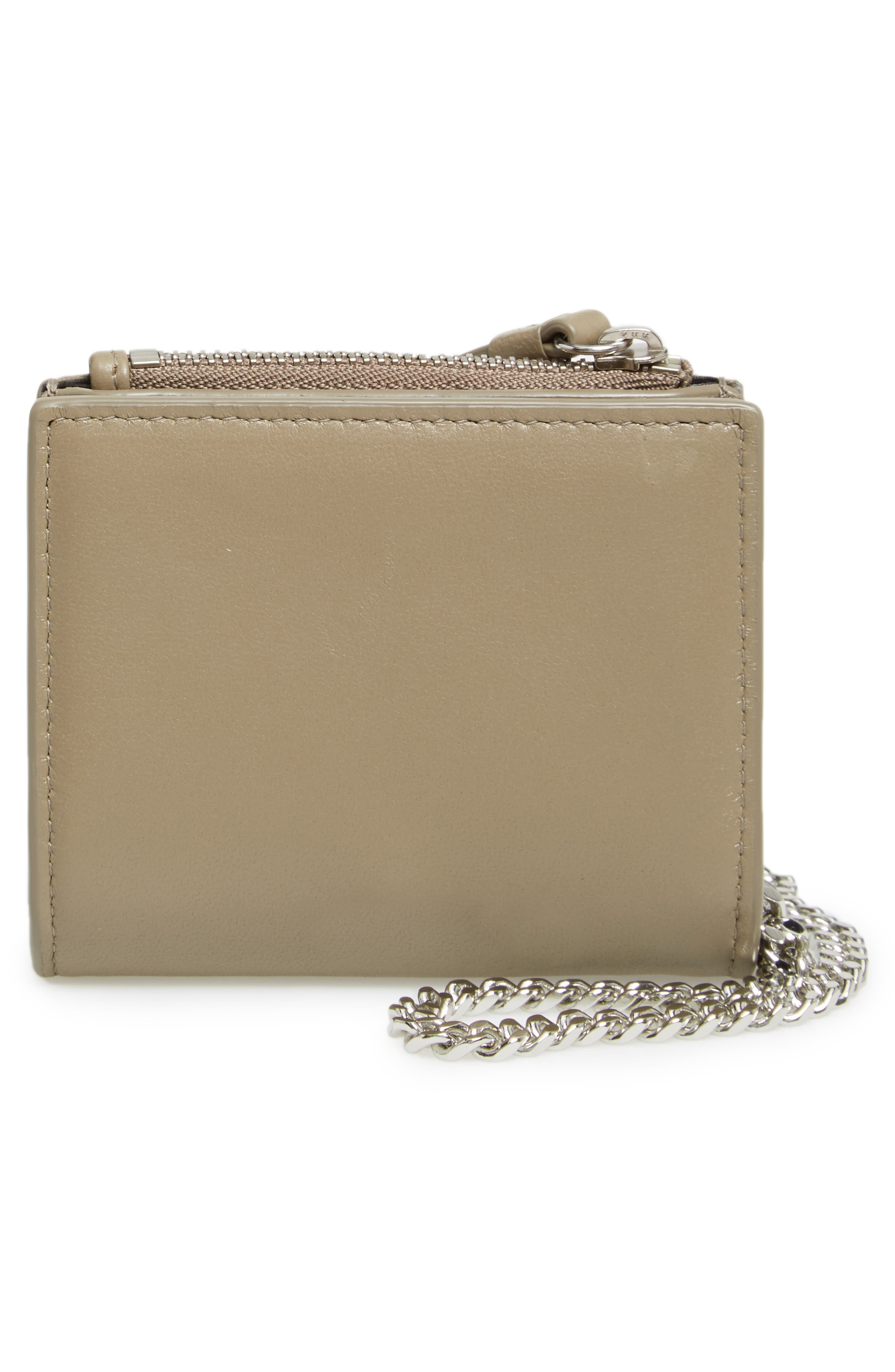 Flora Leather Wristlet,                             Alternate thumbnail 4, color,                             Taupe Grey