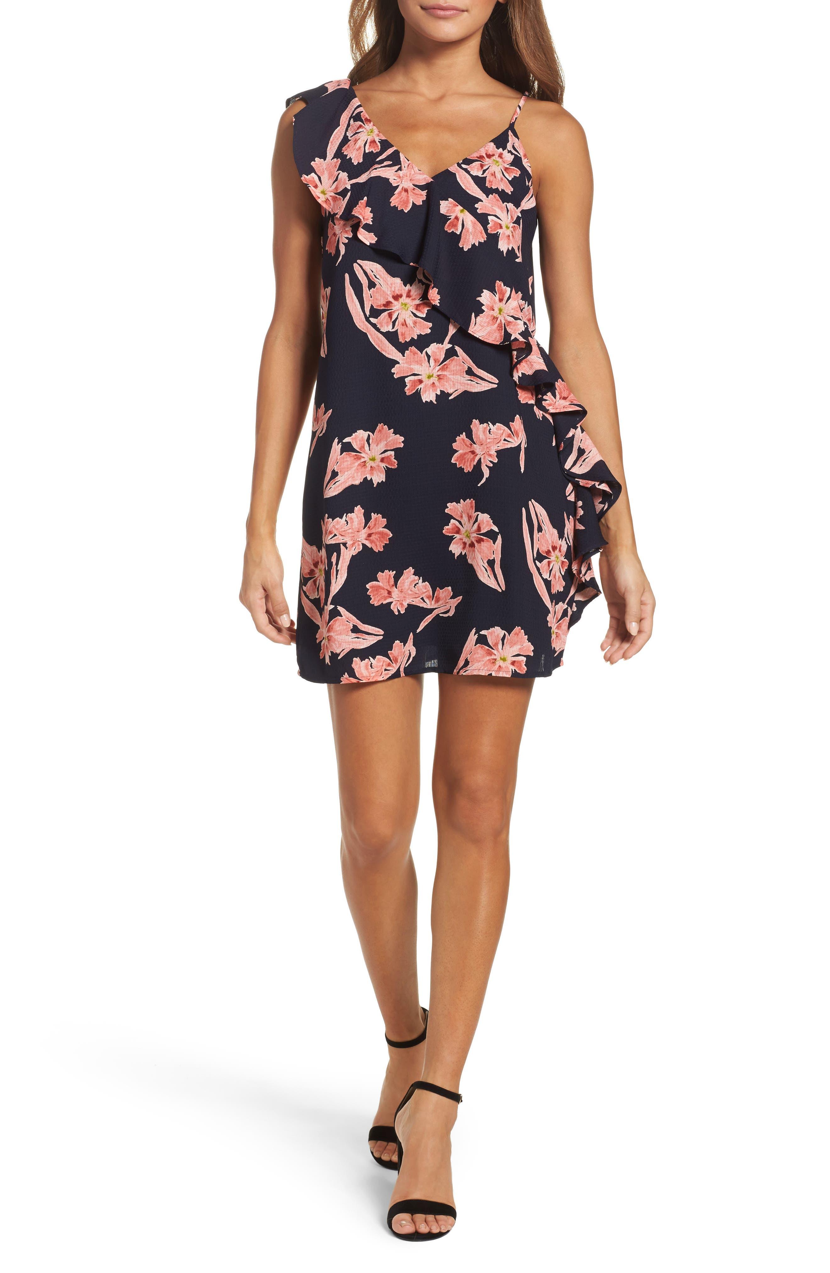 19 Cooper Floral Print One-Shoulder Dress