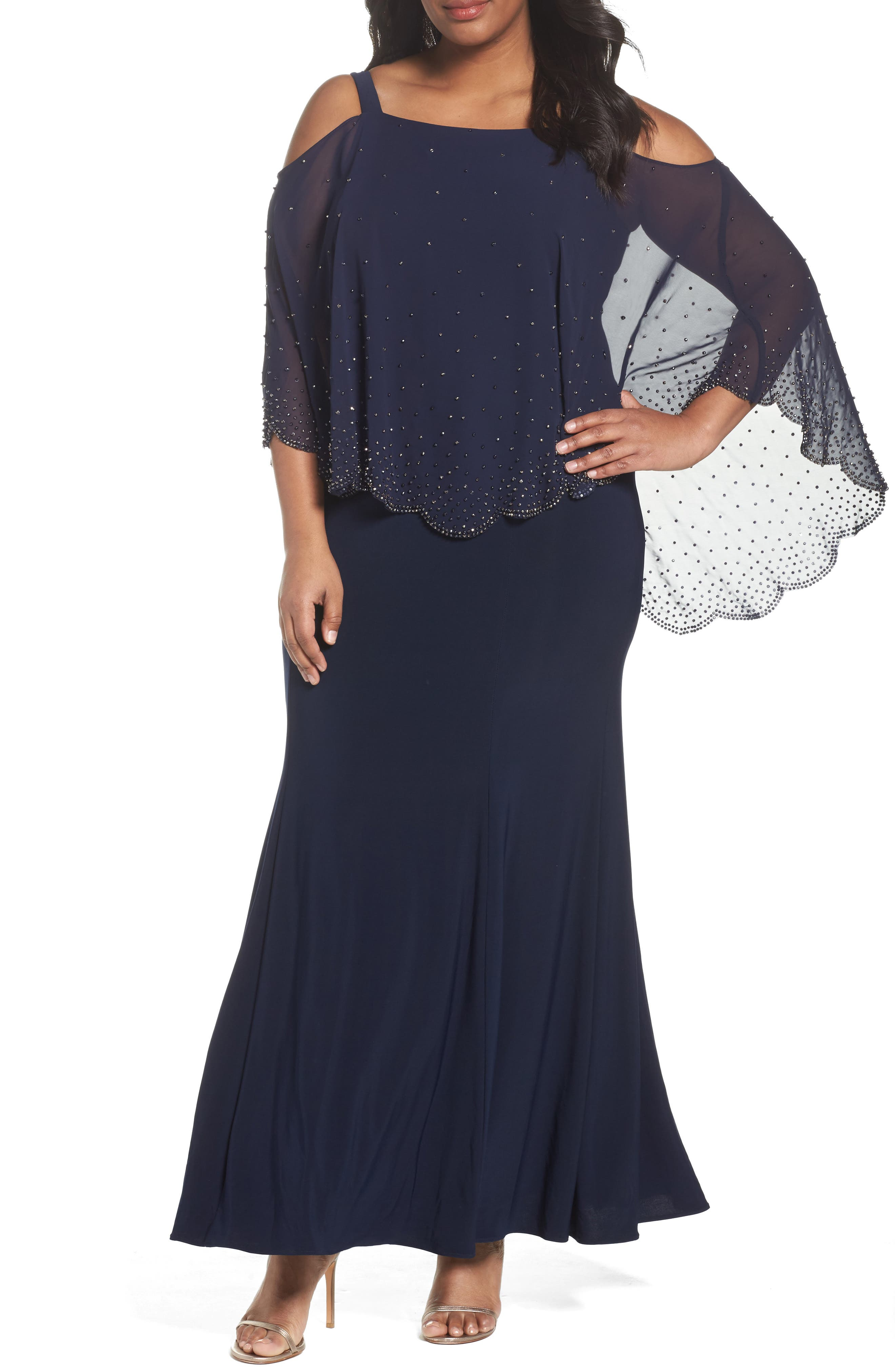 Xscape Embellished Overlay Off the Shoulder Gown (Plus Size)