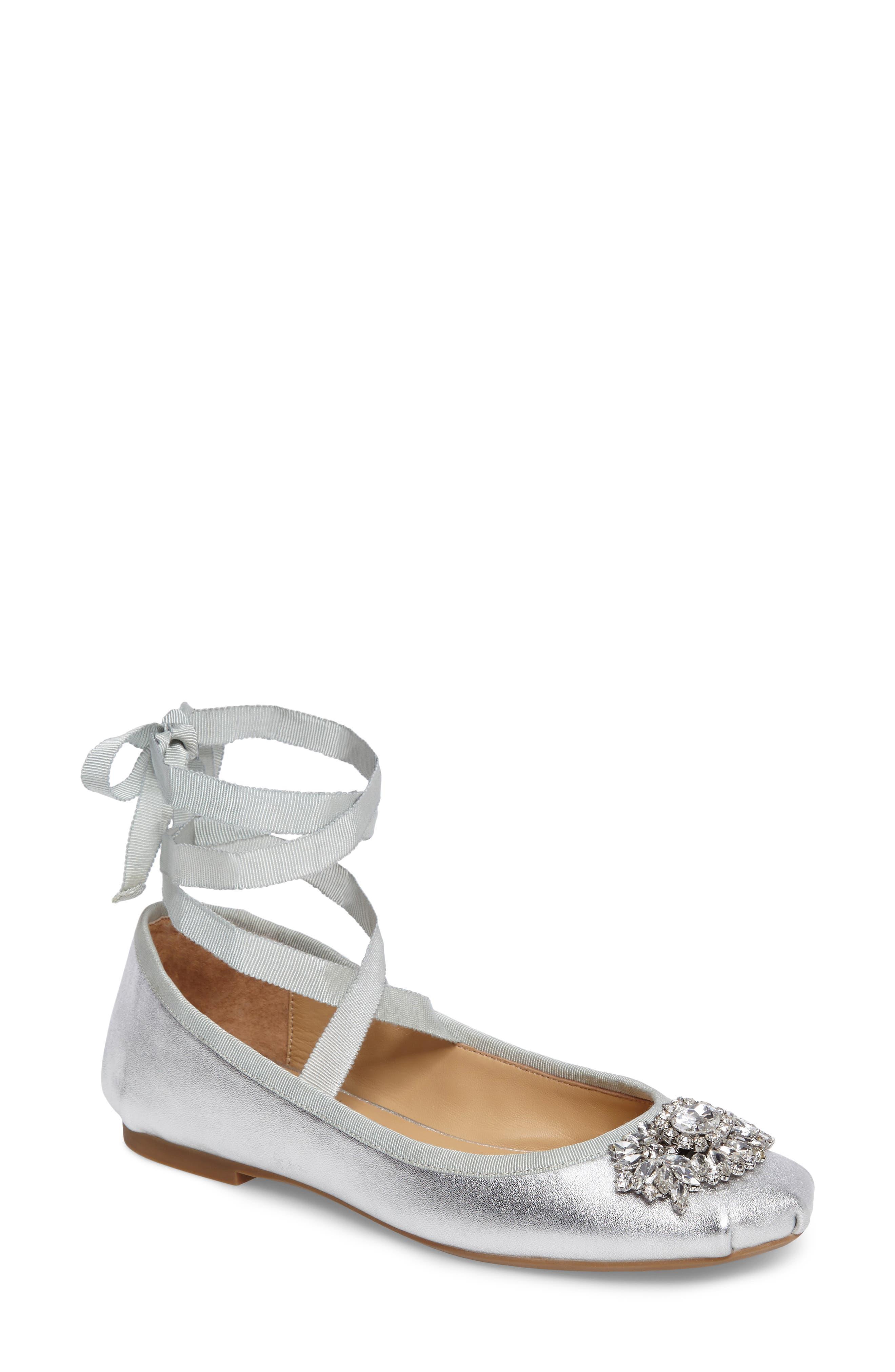 Badgley Mischka Karter II Embellished Ankle Wrap Ballet Flat (Women)