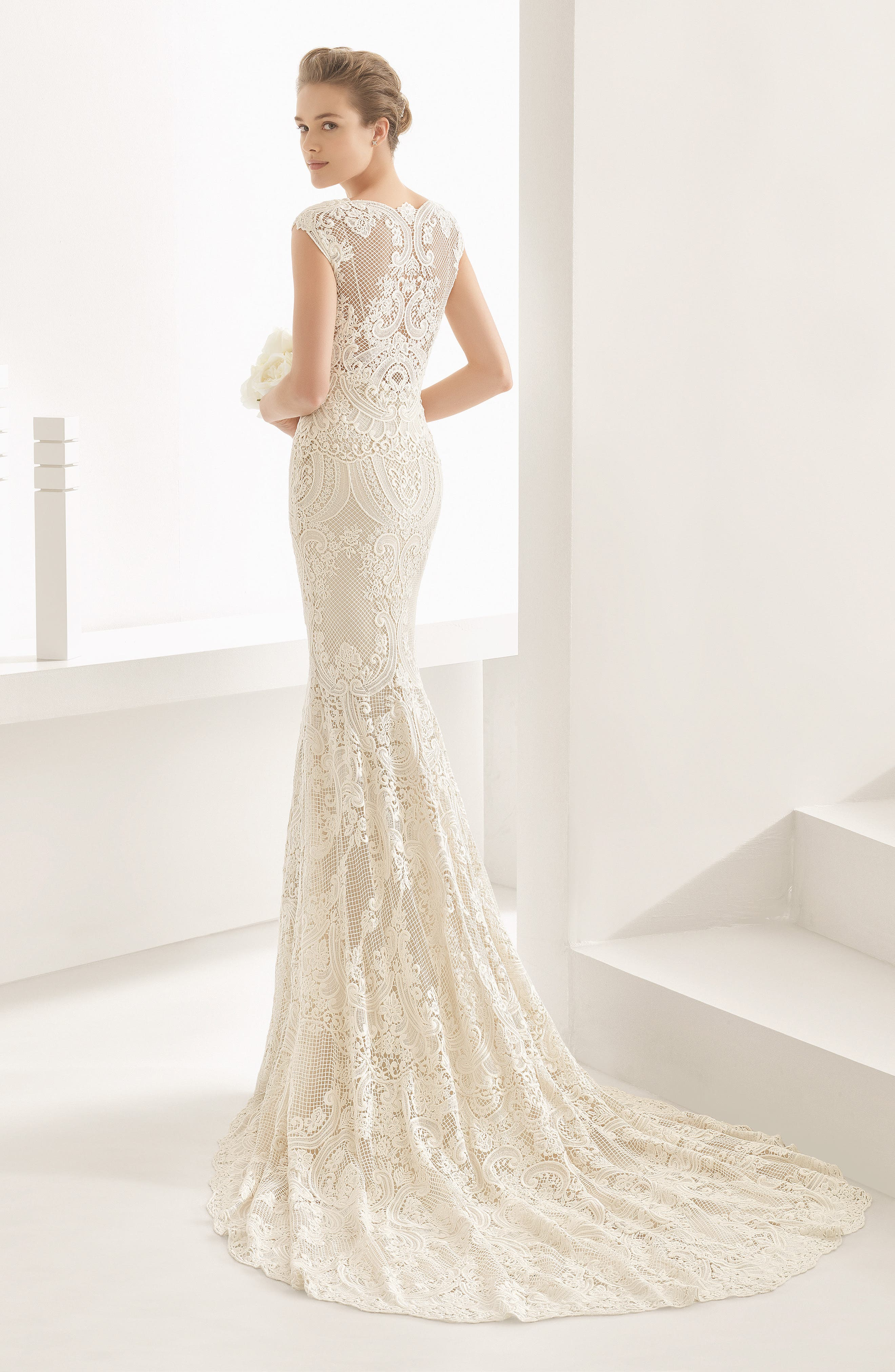 Natalia Guipure Lace Mermaid Gown,                             Alternate thumbnail 3, color,                             Ivory