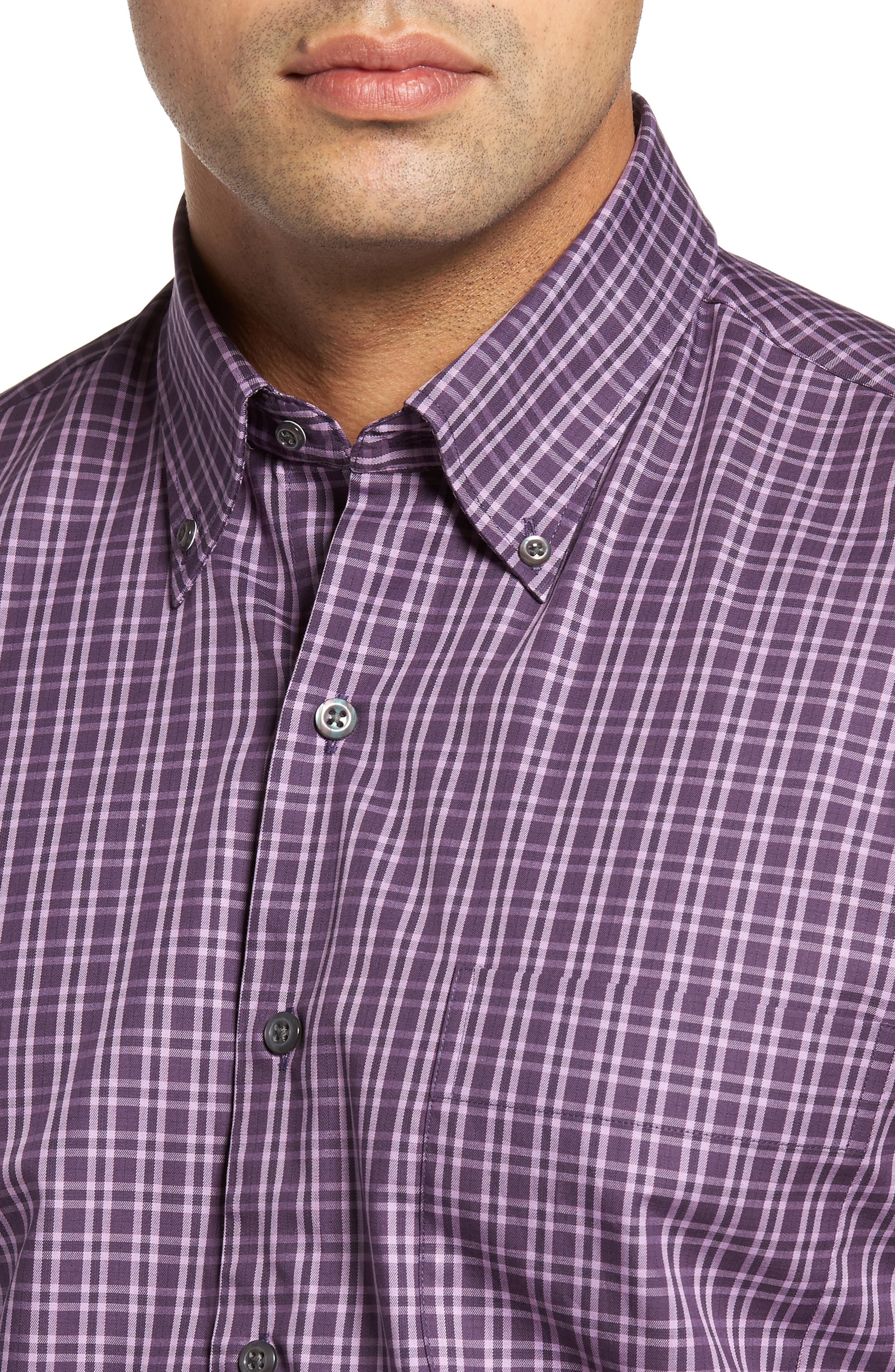 Autumn Check Regular Fit Sport Shirt,                             Alternate thumbnail 4, color,                             Blackberry