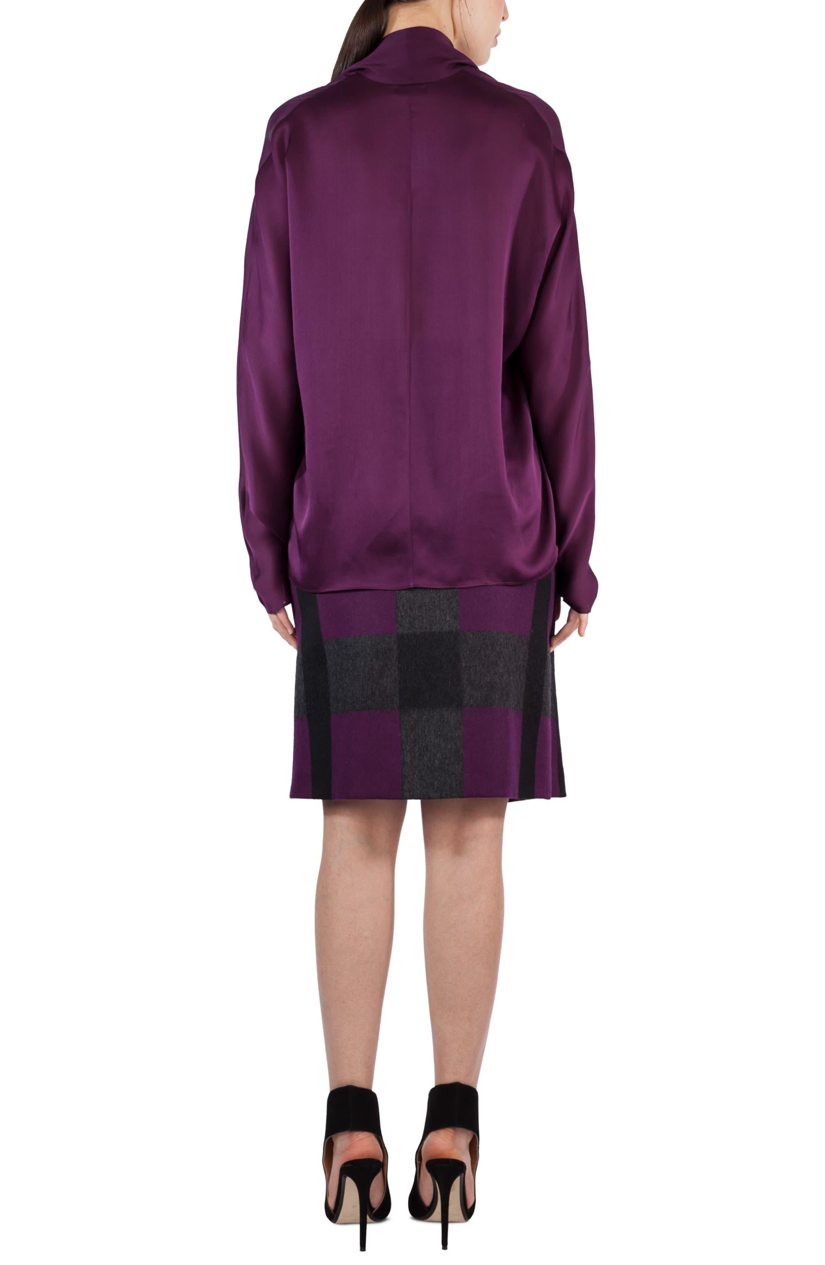 Tie Neck Silk Crepe Blouse,                             Alternate thumbnail 2, color,                             Purple