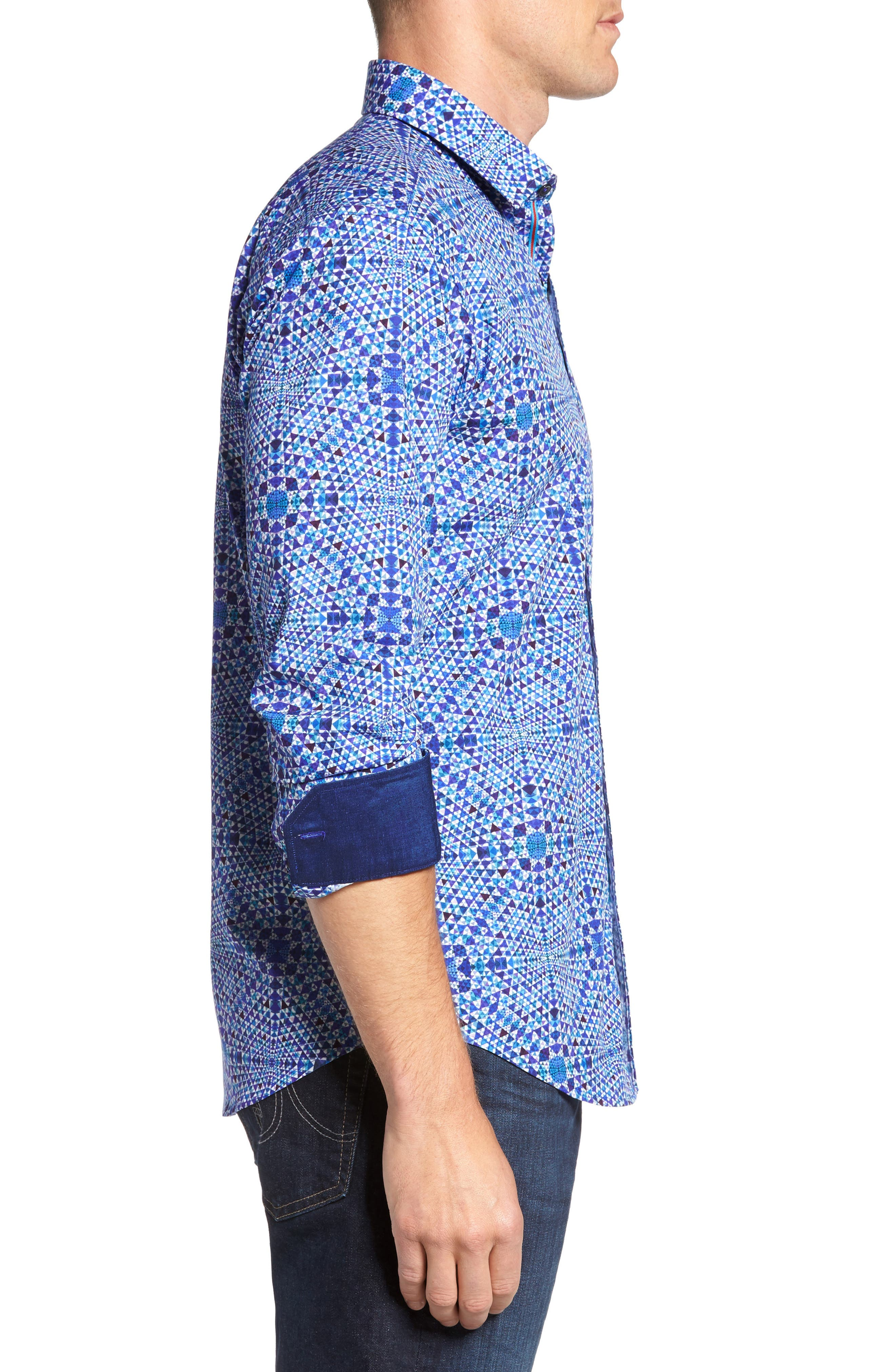 Shaped Fit Geo Print Sport Shirt,                             Alternate thumbnail 4, color,                             Orchid
