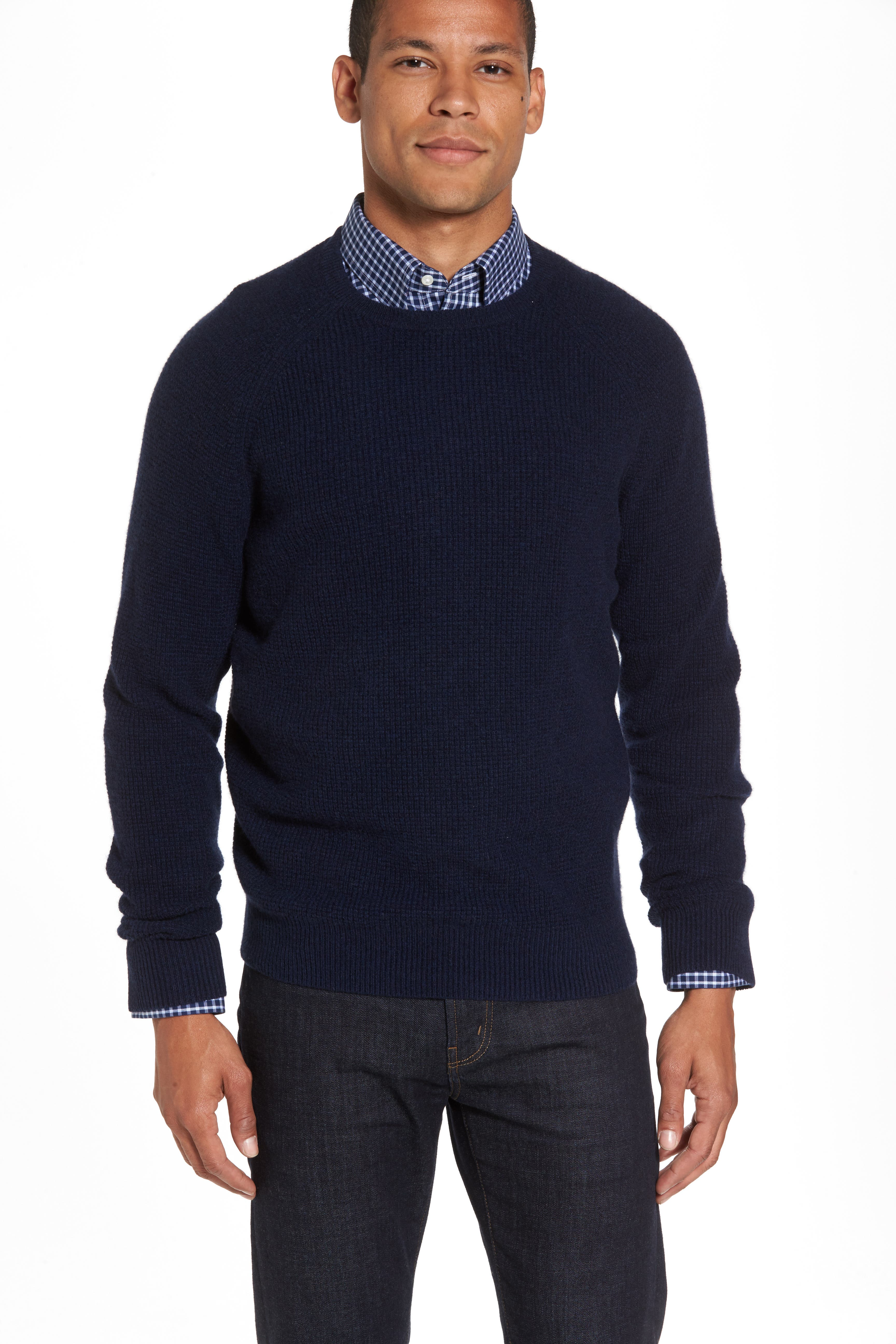 Cashmere Waffle Knit Pullover,                             Main thumbnail 1, color,                             Navy Charcoal