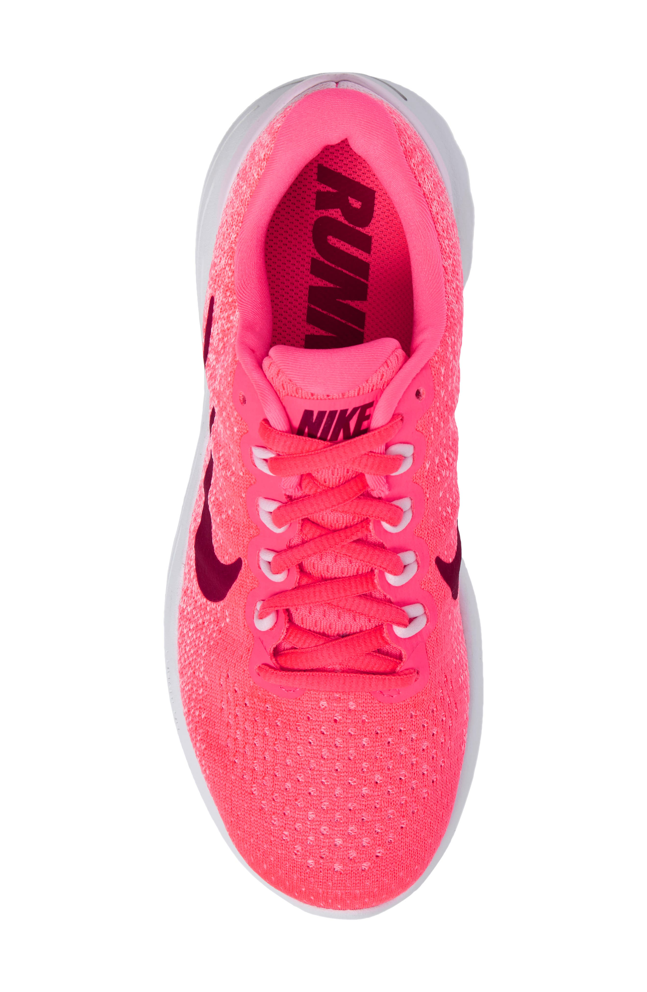 LunarGlide 9 Running Shoe,                             Alternate thumbnail 5, color,                             Hot Punch/ Noble Red/ Arctic