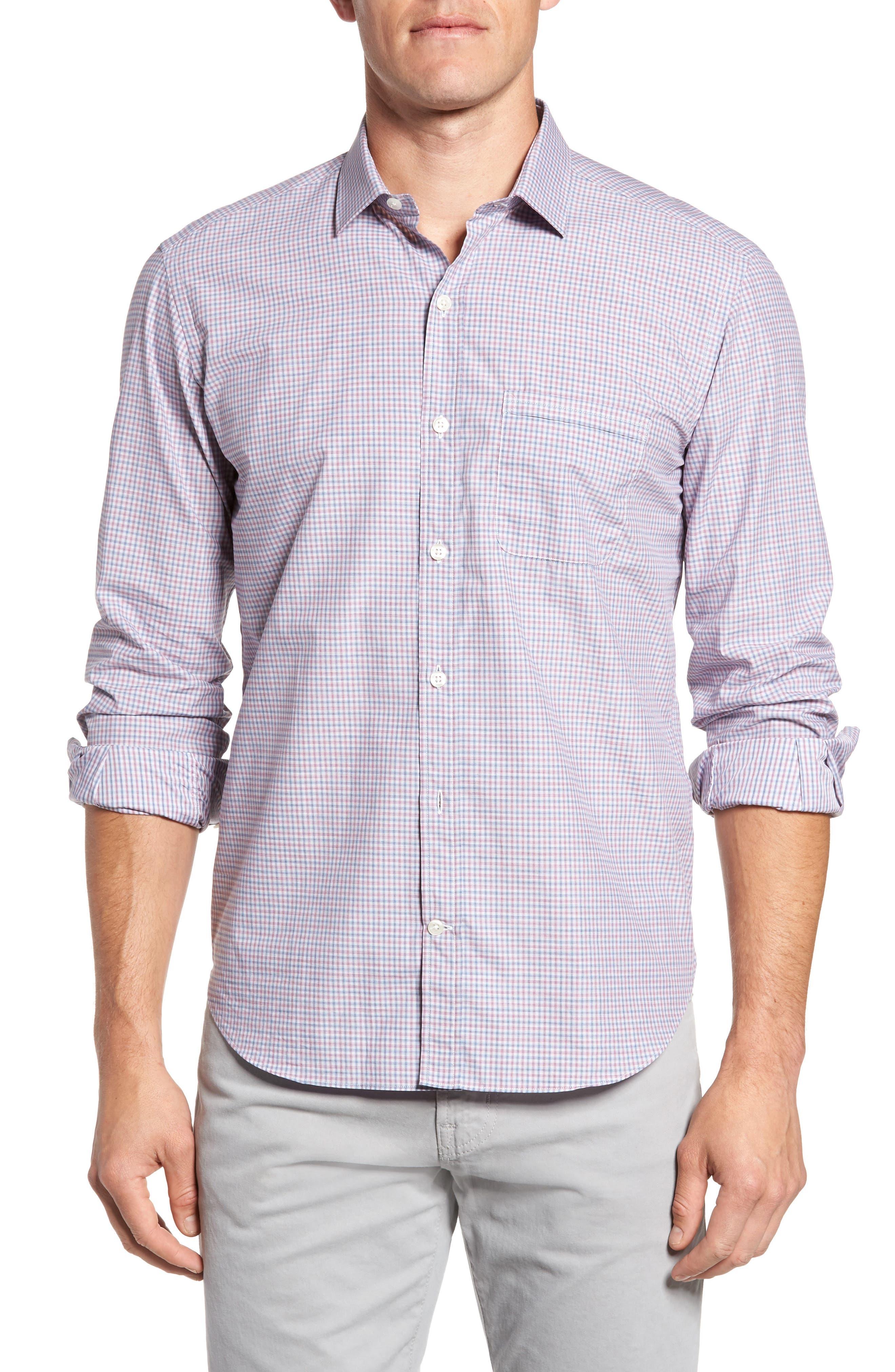 Trim Fit Mini Plaid Sport Shirt,                         Main,                         color, Pink