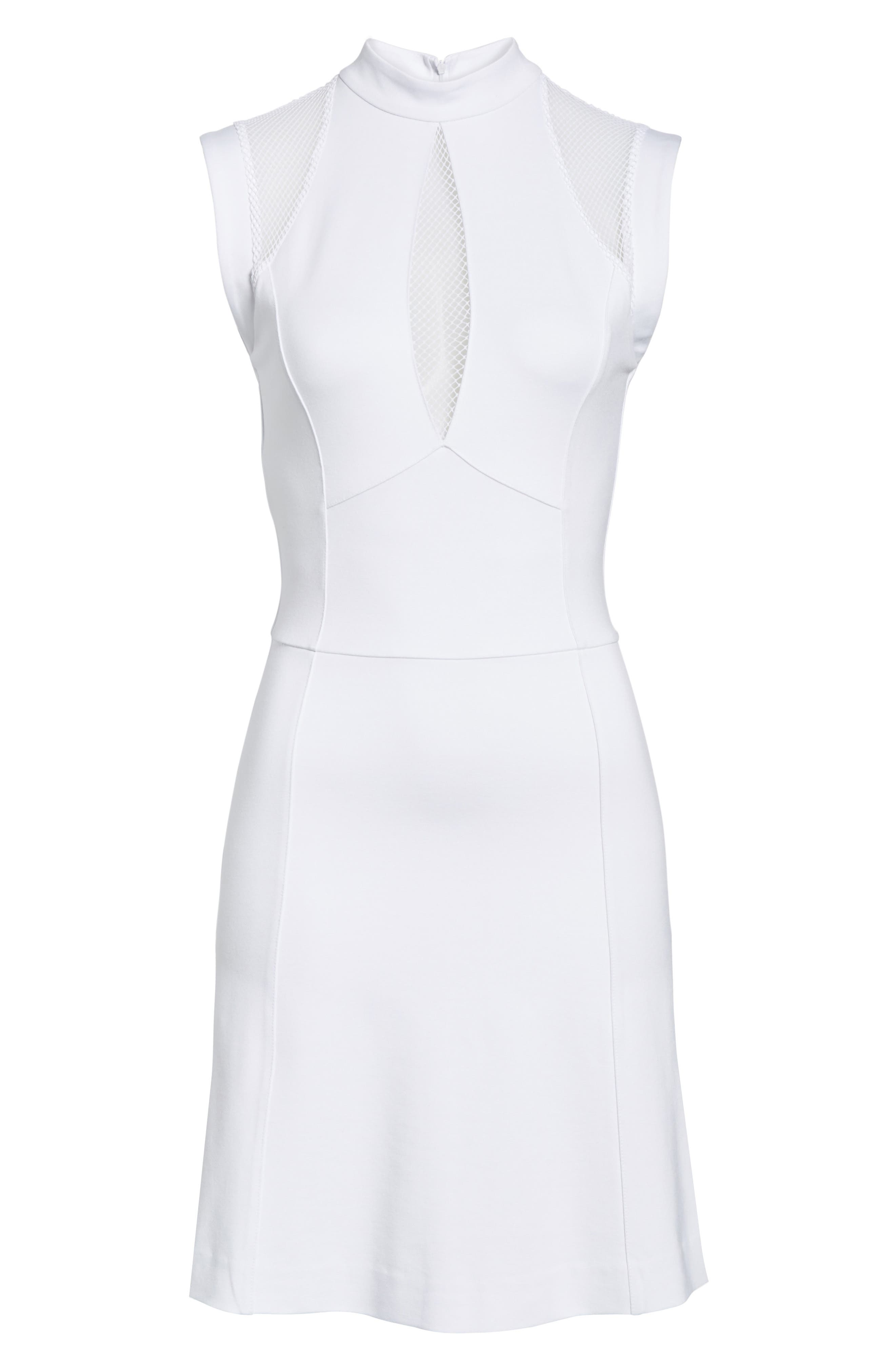 Galactica Fit & Flare Dress,                             Alternate thumbnail 6, color,                             White