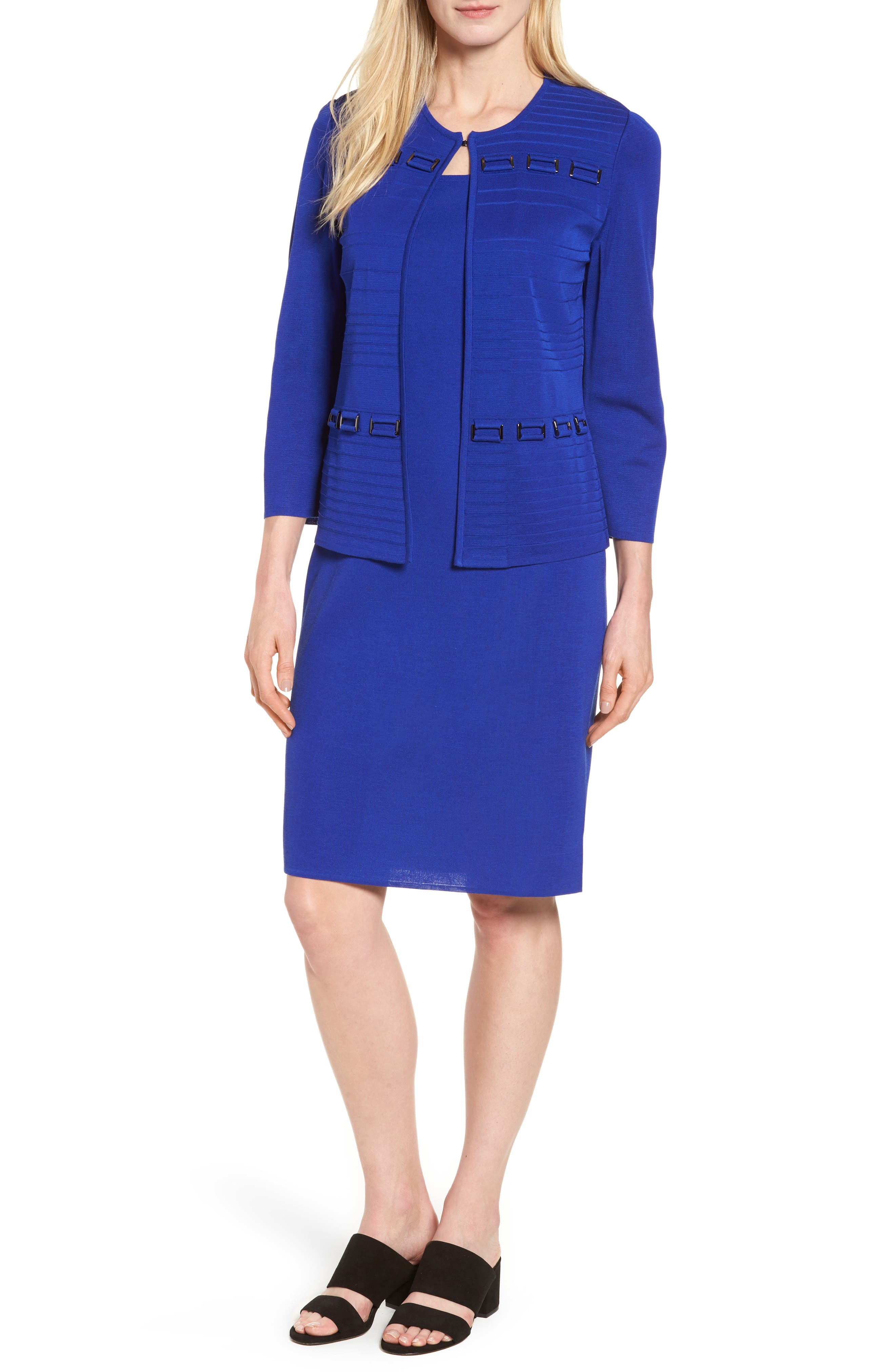 Knit Sheath Dress,                             Alternate thumbnail 2, color,                             Blue Flame