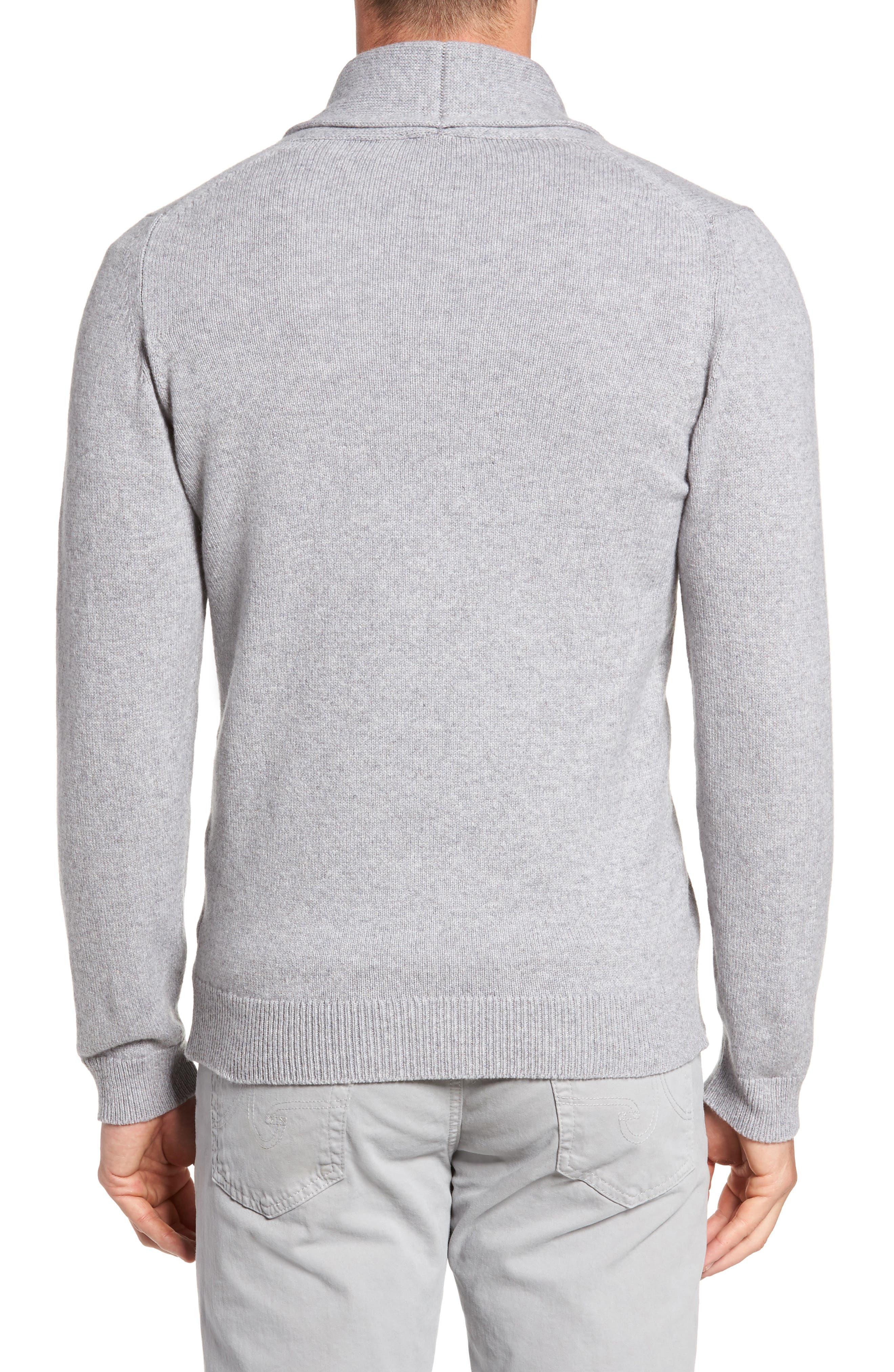 Slim Fit Merino Wool & Cashmere Cardigan,                             Alternate thumbnail 2, color,                             Silver