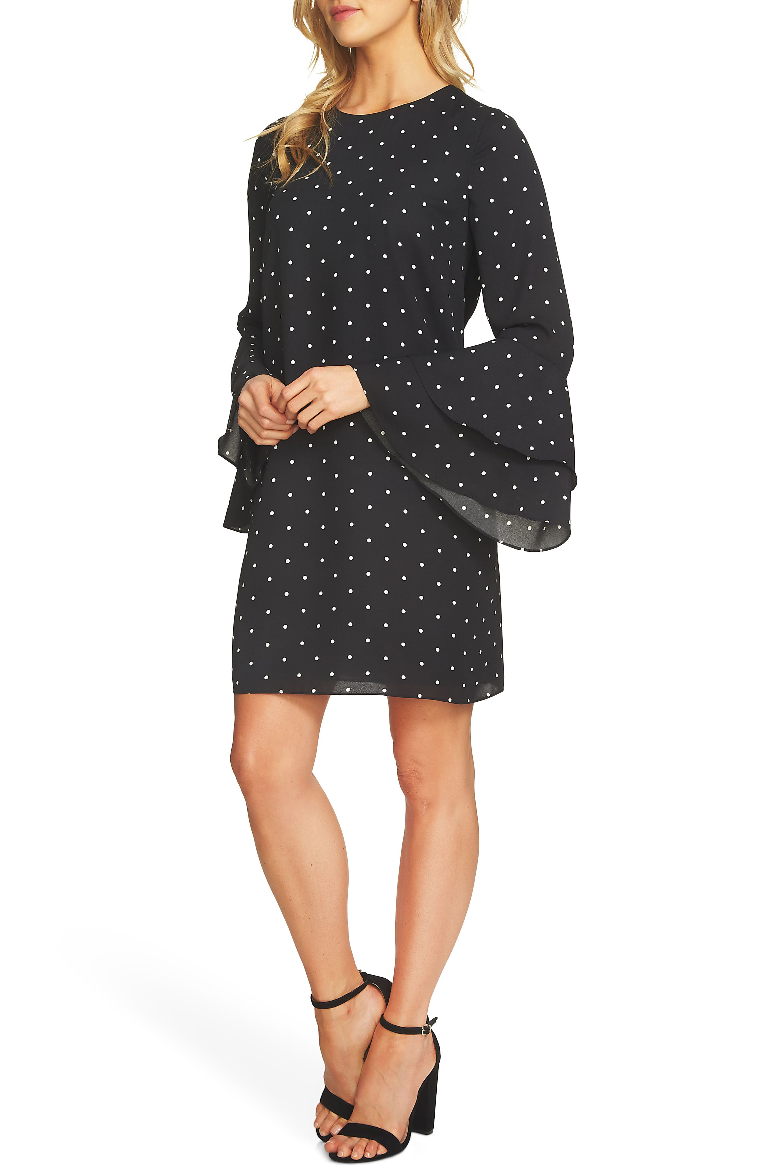 Bell Sleeve Polka Dot Dress,                             Alternate thumbnail 3, color,                             Rich Black