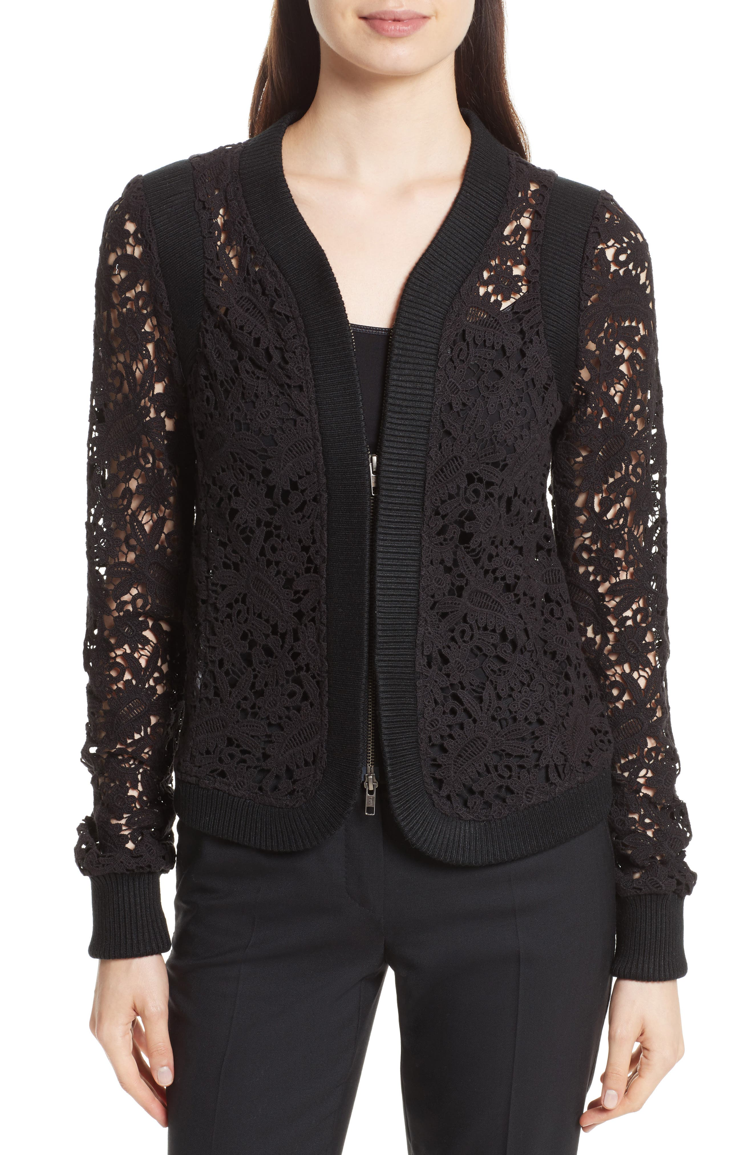 Tracy Reese Lace Zip Cardigan