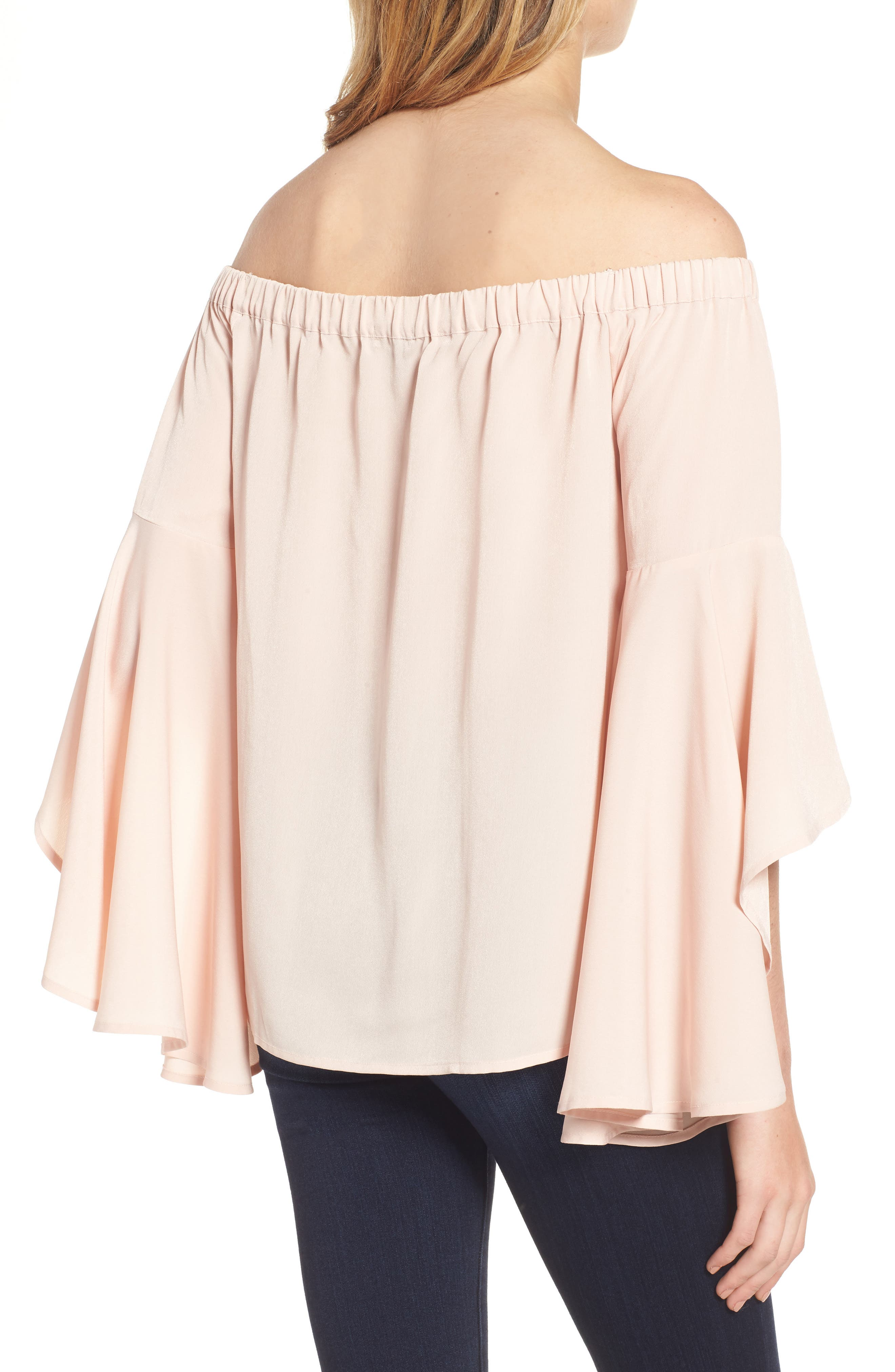 Bell Sleeve Off the Shoulder Top,                             Alternate thumbnail 2, color,                             Pink Hero