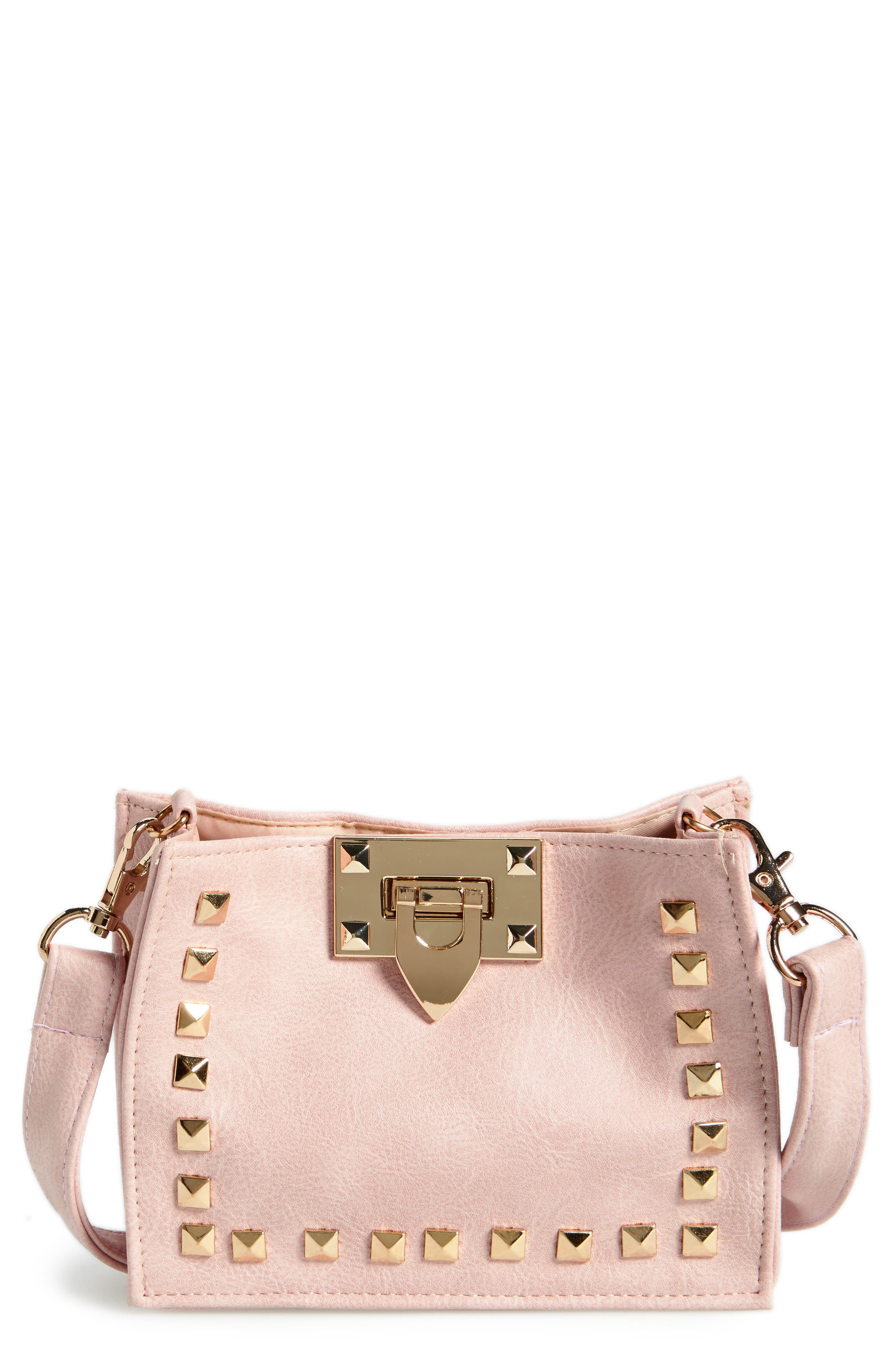 CAPELLI OF NEW YORK Studded Faux Leather Crossbody Bag
