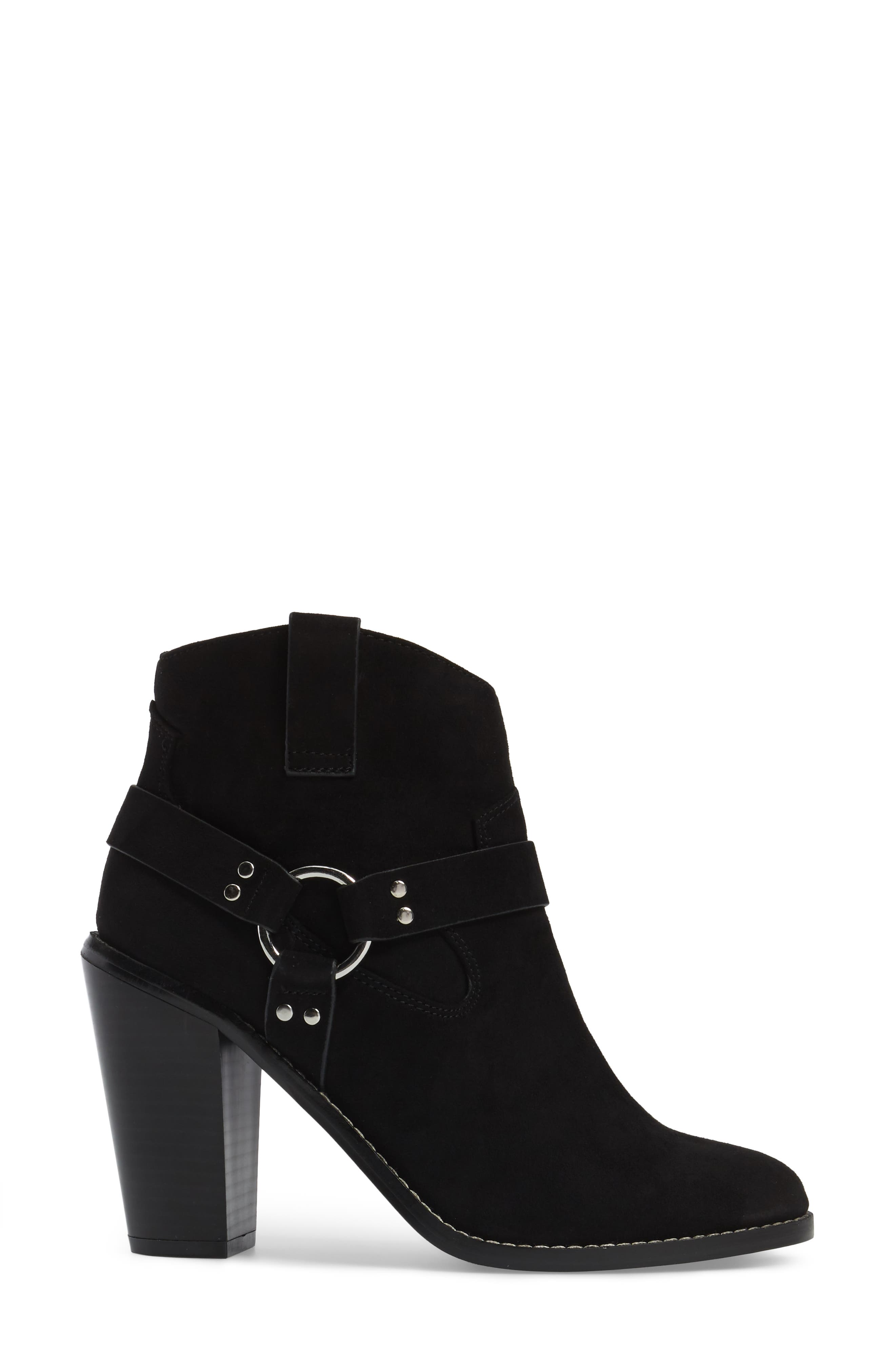 Fancye Ringed Ankle Strap Bootie,                             Alternate thumbnail 3, color,                             Black Synthetic