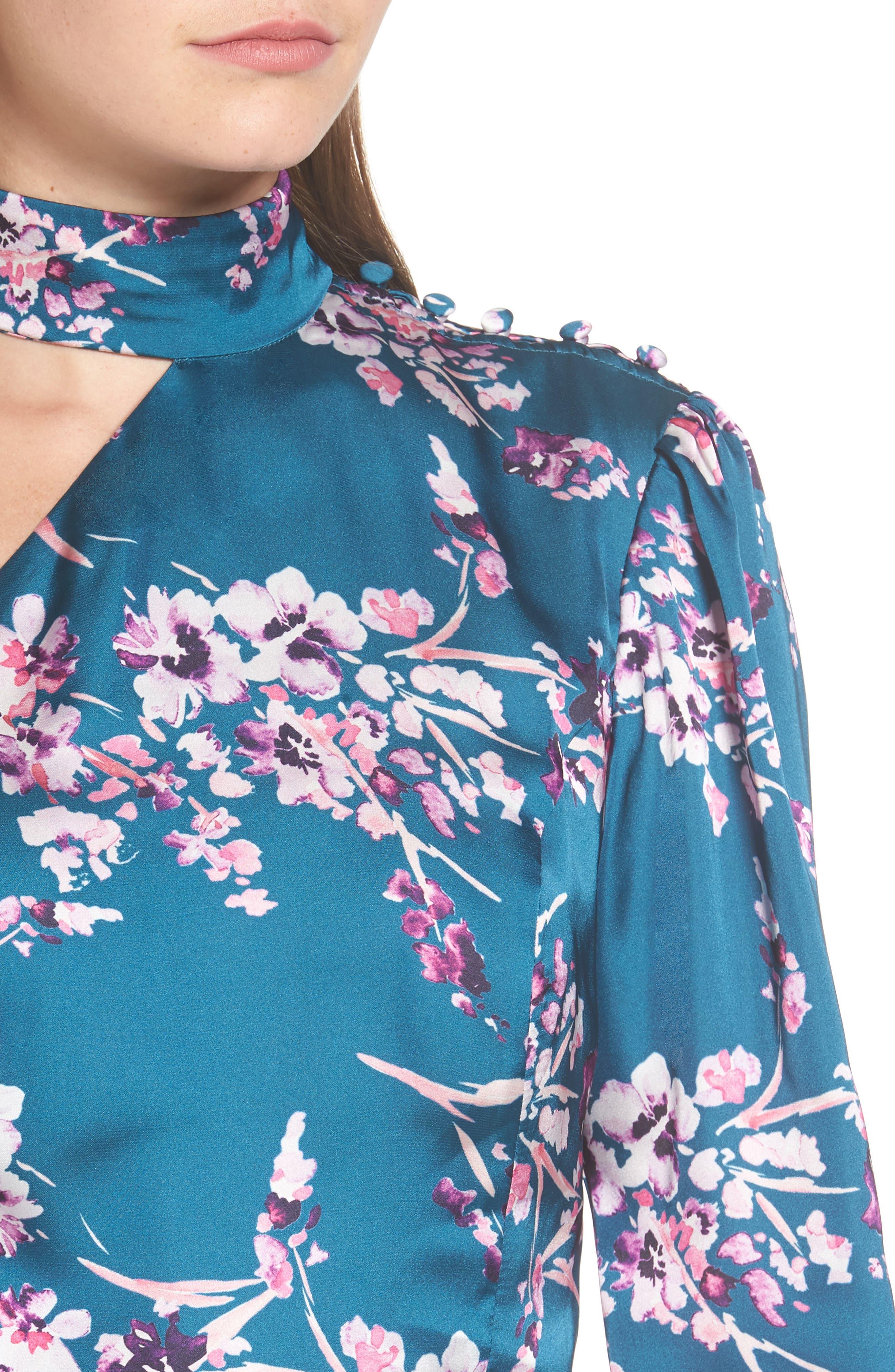 Clover Cold Shoulder Sheath Dress,                             Alternate thumbnail 4, color,                             Moroccan Blossom