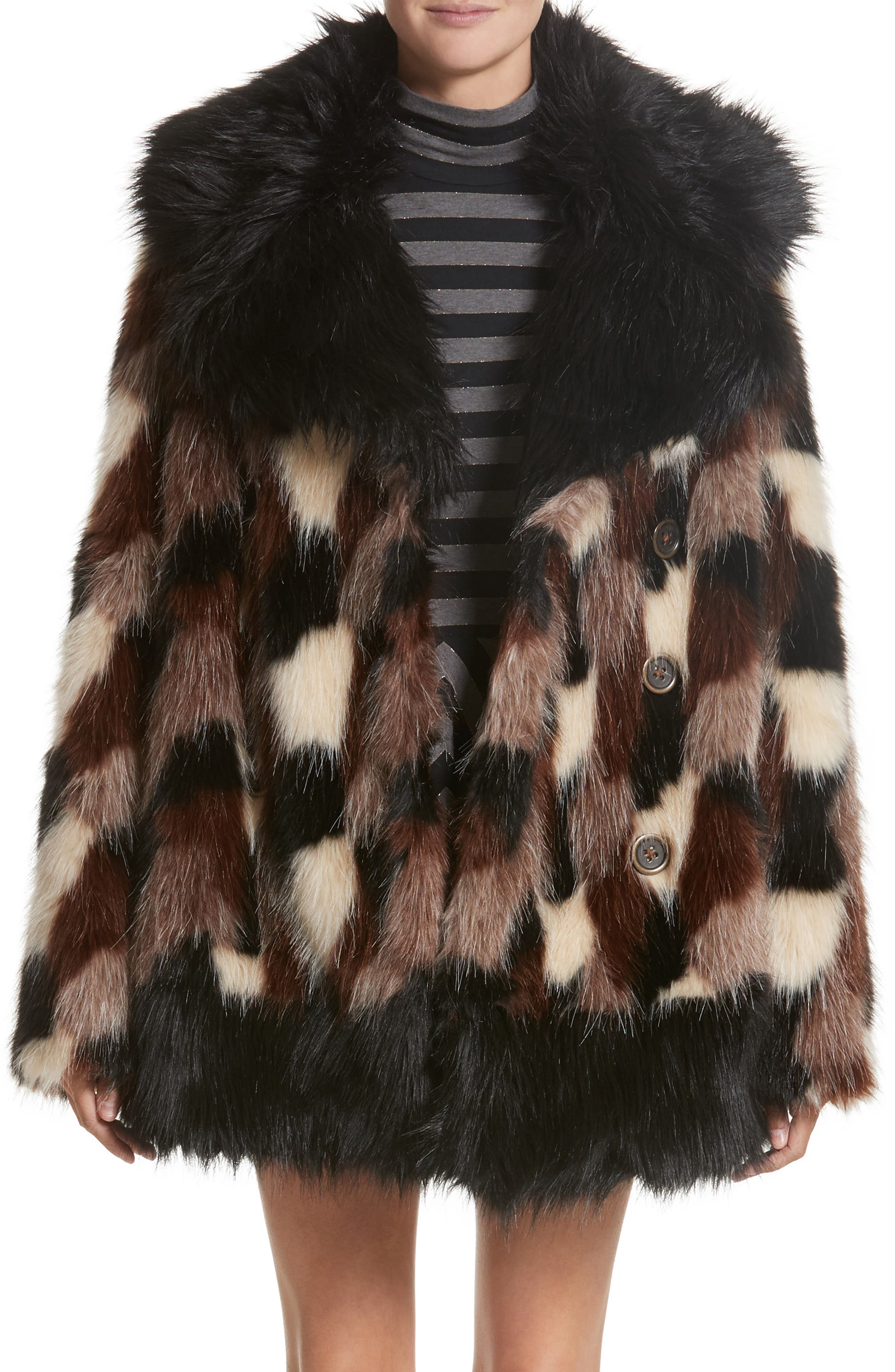Patchwork Faux Fur Jacket,                         Main,                         color, Black Multi