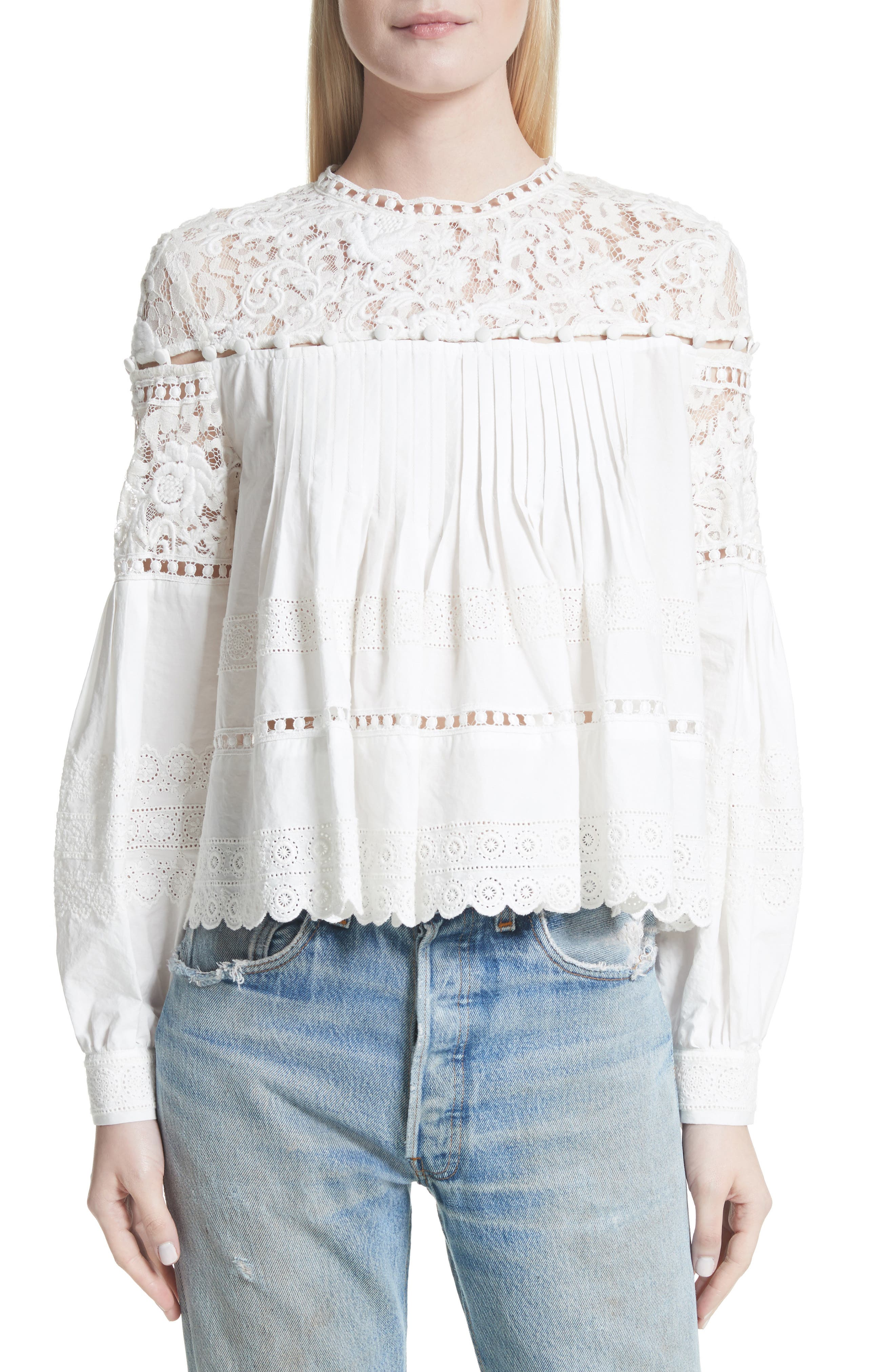 Cotton Eyelet Blouse,                         Main,                         color, Cream