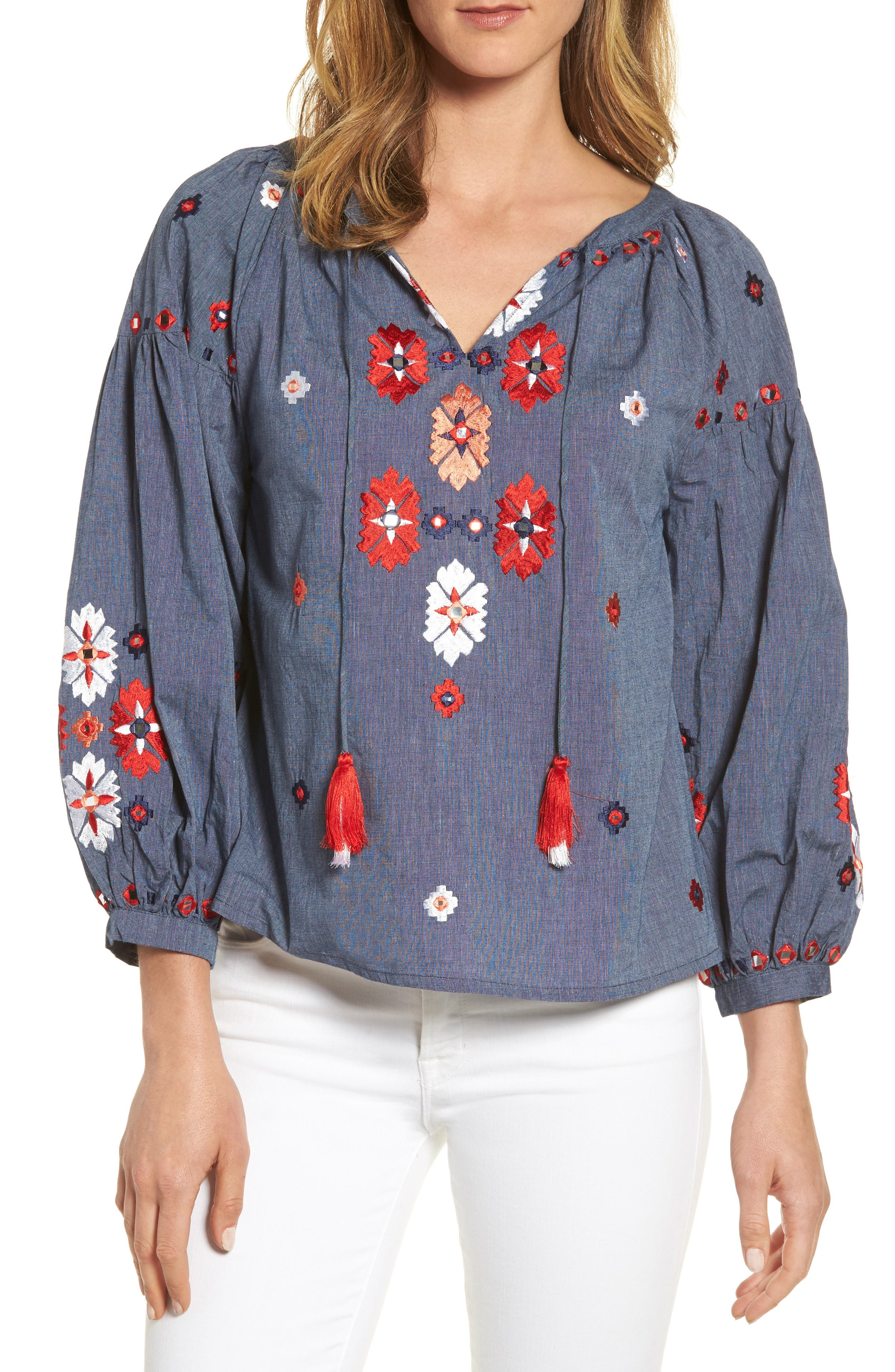 KAS NEW YORK Elora Embroidered Chambray Top