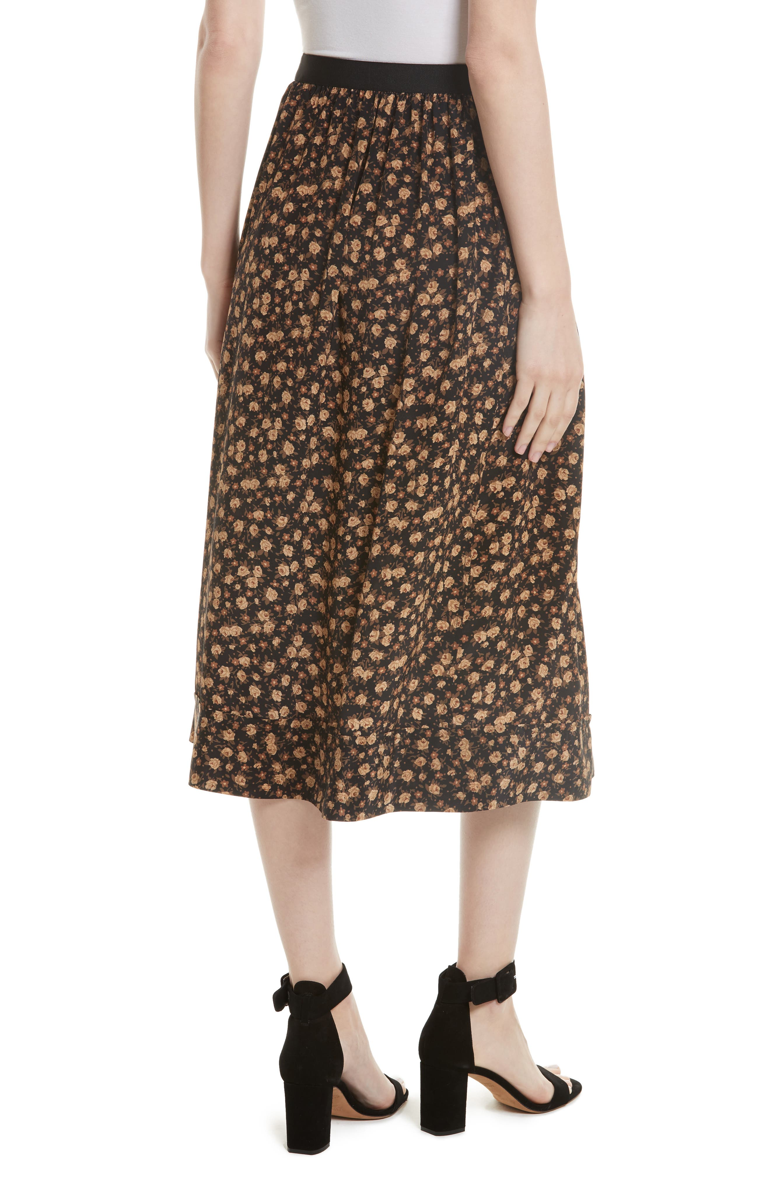 Alternate Image 2  - Tracy Reese Dirndl Silk Floral Midi Skirt