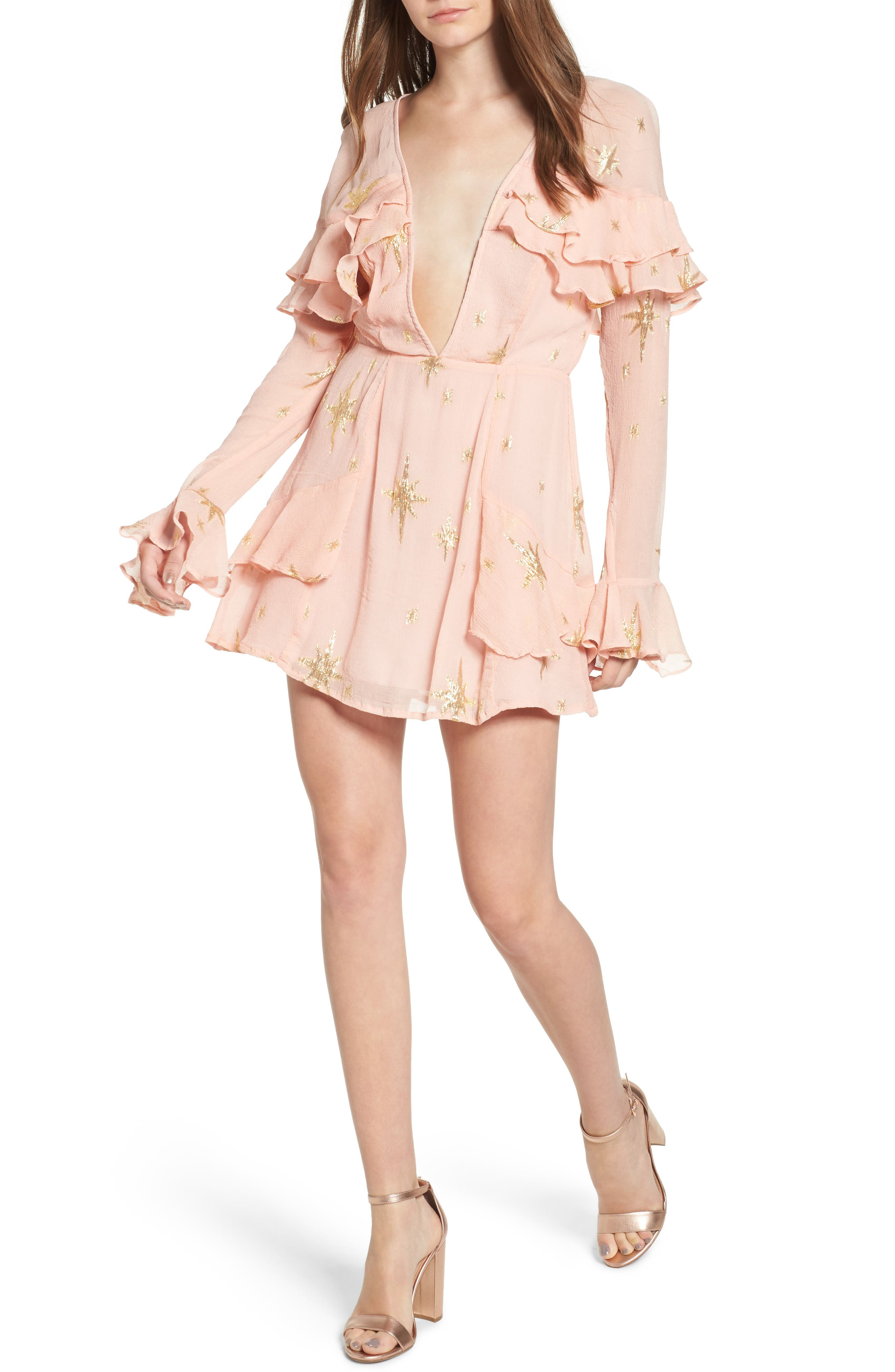 Gilded Star Minidress,                         Main,                         color, Rose Gold
