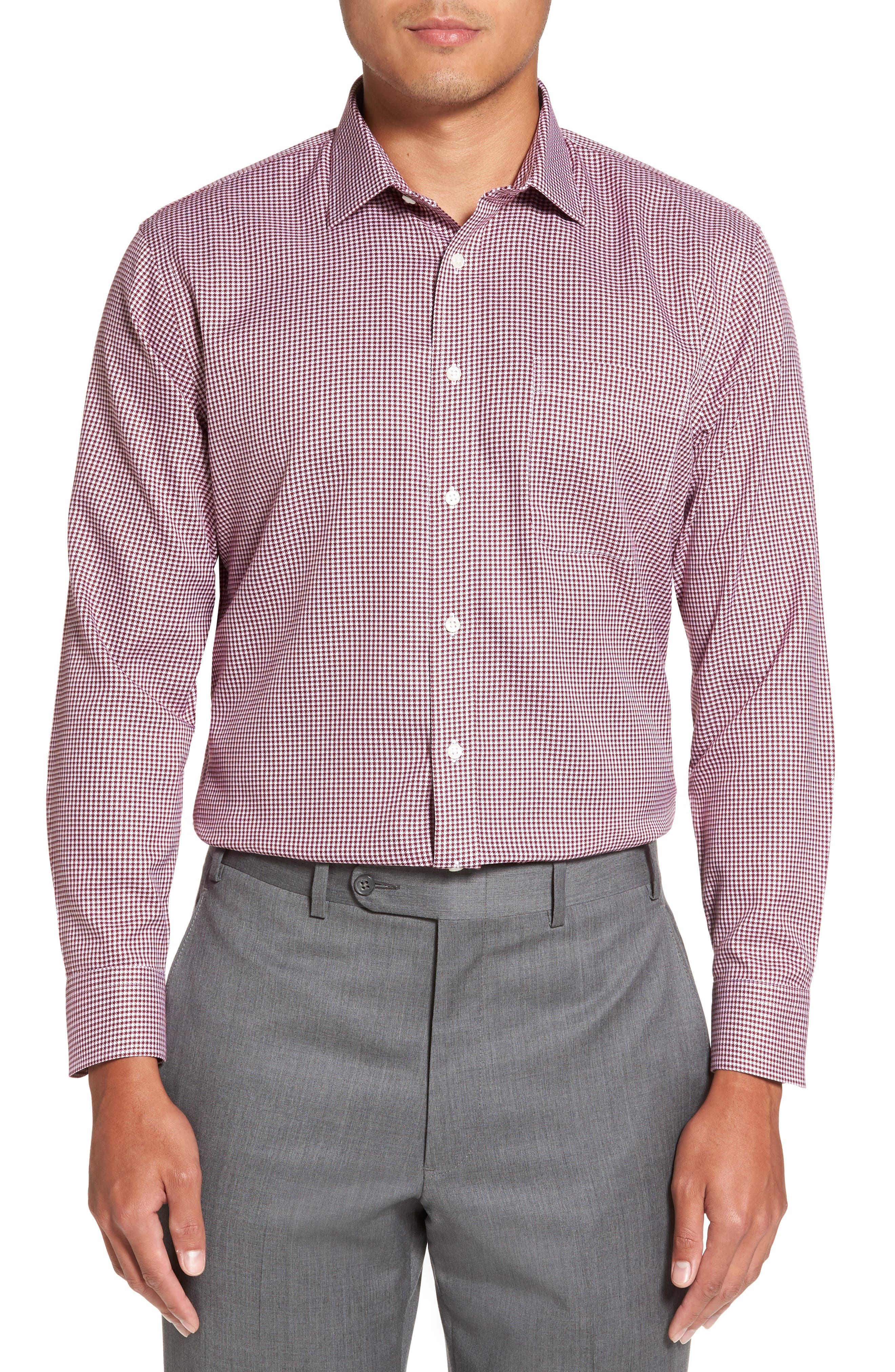 Smartcare<sup>™</sup> Trim Fit Check Dress Shirt,                             Alternate thumbnail 2, color,                             Burgundy Windsor