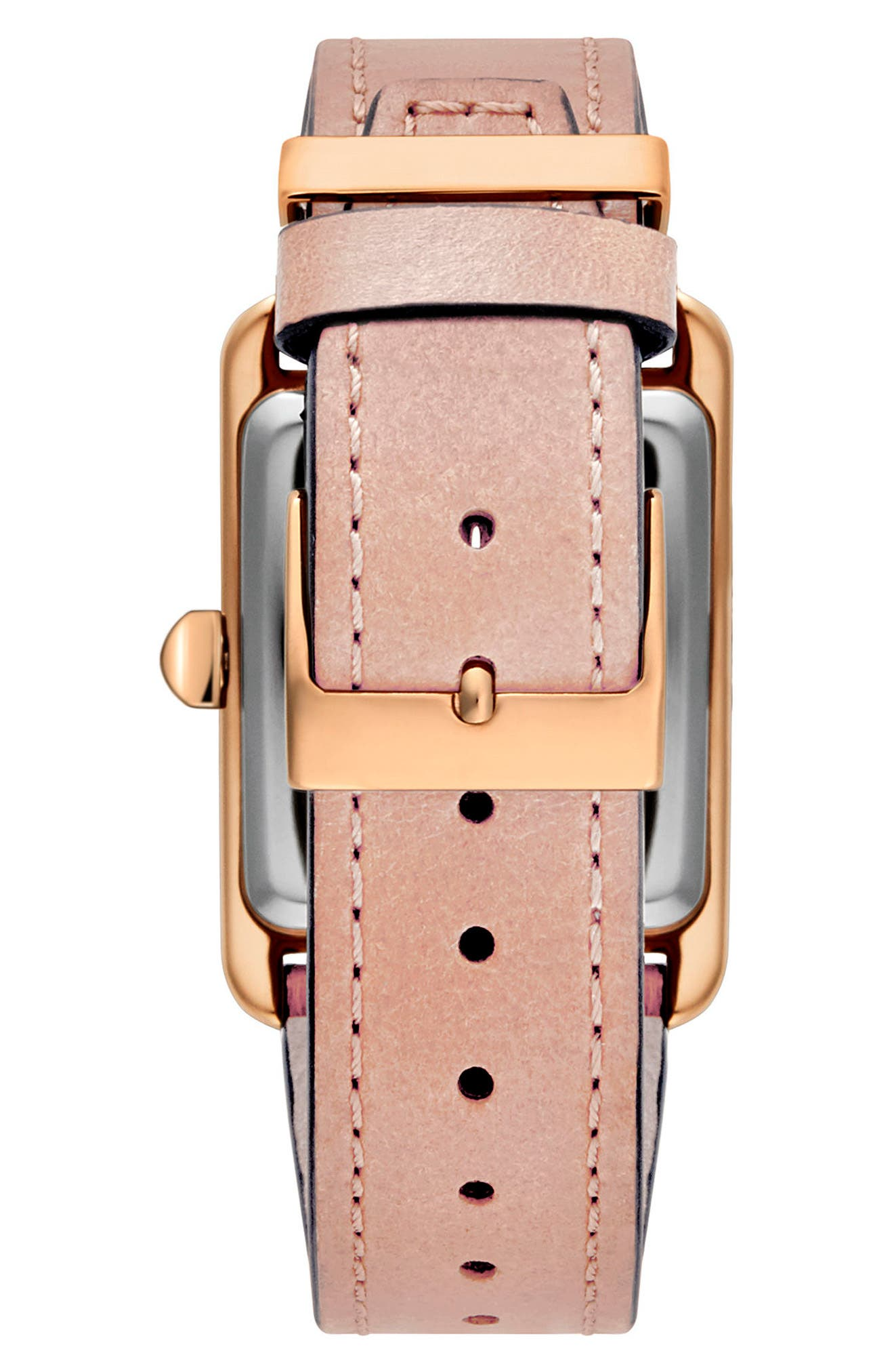 Moment Leather Strap Watch, 27mm x 39mm,                             Alternate thumbnail 2, color,                             Blush/ White/ Rose Gold