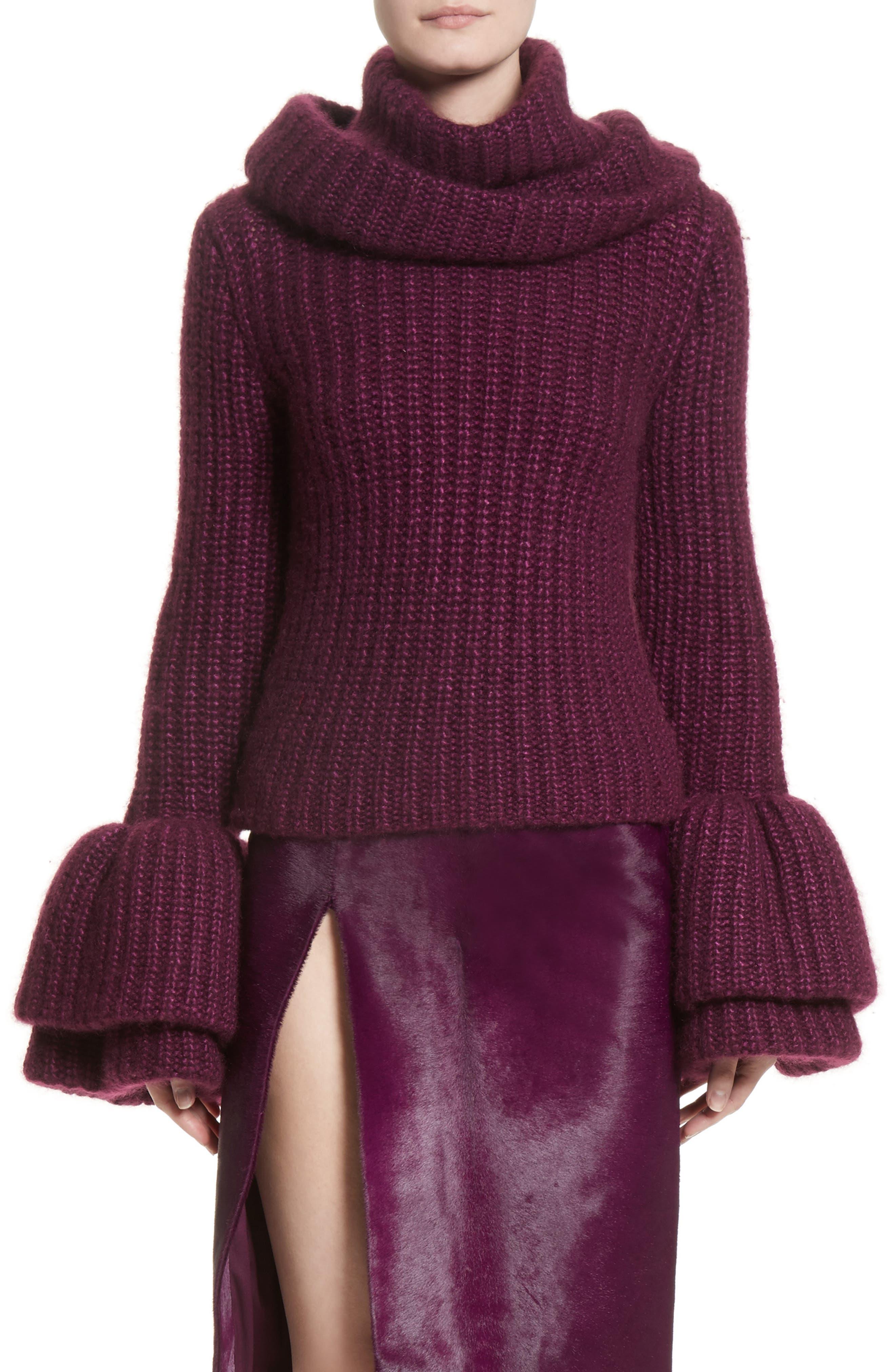 Silk, Mohair & Cashmere Turtleneck Sweater,                         Main,                         color, Purple